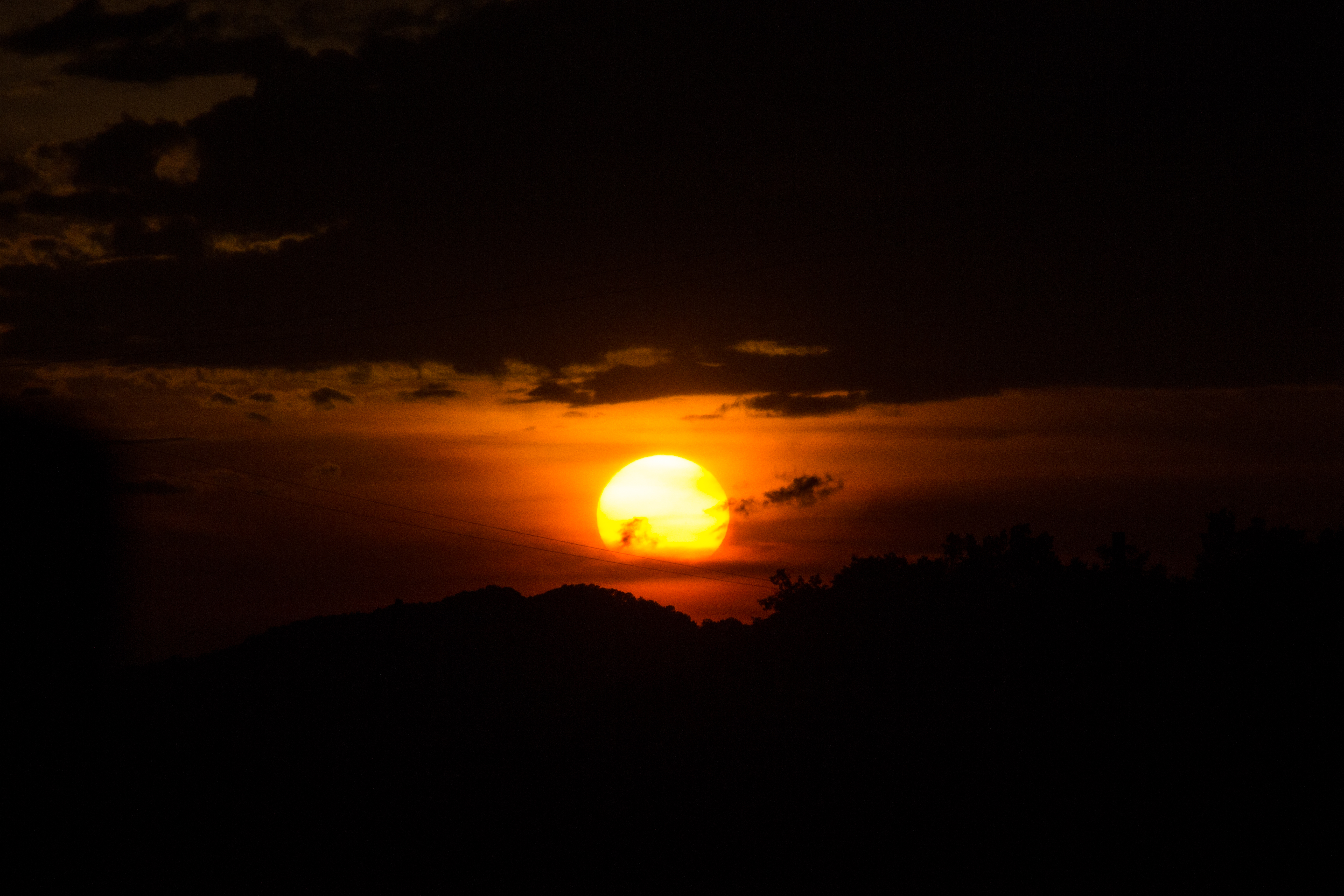 134745 download wallpaper Nature, Sunset, Hills, Sky, Sun screensavers and pictures for free