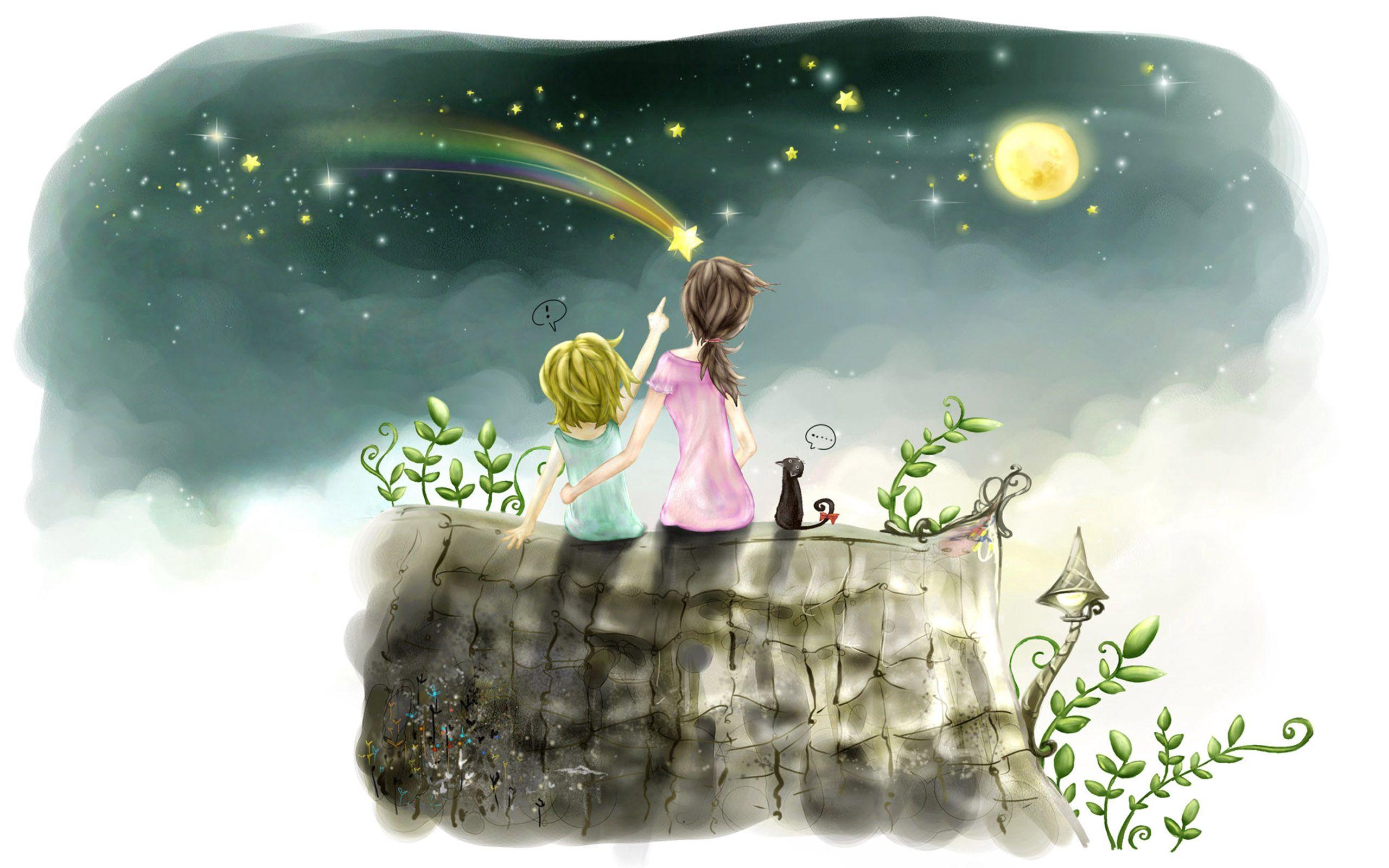 91234 скачать обои Разное, Дети, Рисунок, Девочка, Небо, Звезды - заставки и картинки бесплатно