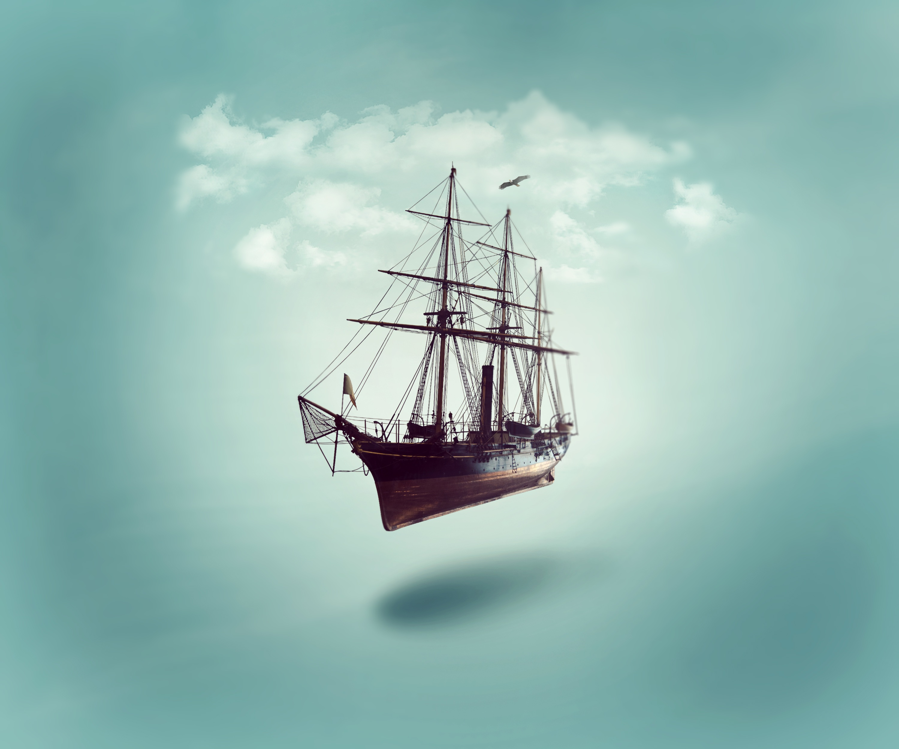 106213 download wallpaper Minimalism, Ship, Sky, Clouds screensavers and pictures for free