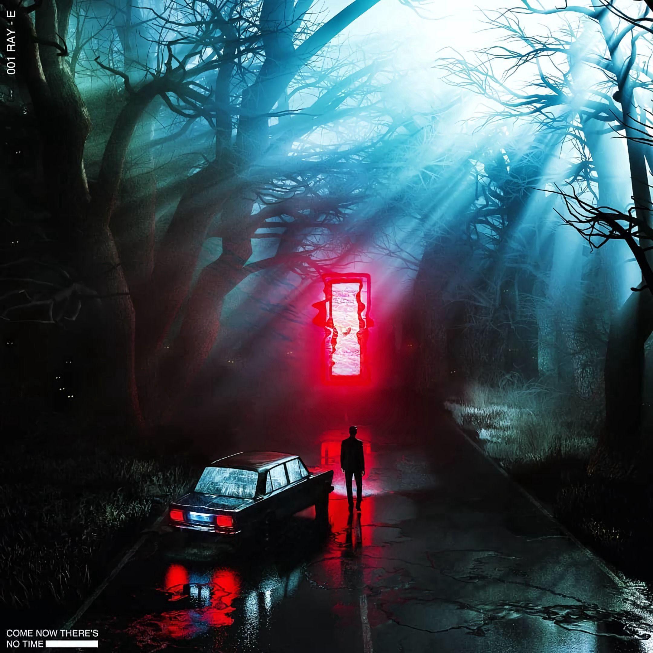 84204 скачать обои Портал, Машина, Свечение, Ночь, Арт, Силуэт, Темнота - заставки и картинки бесплатно