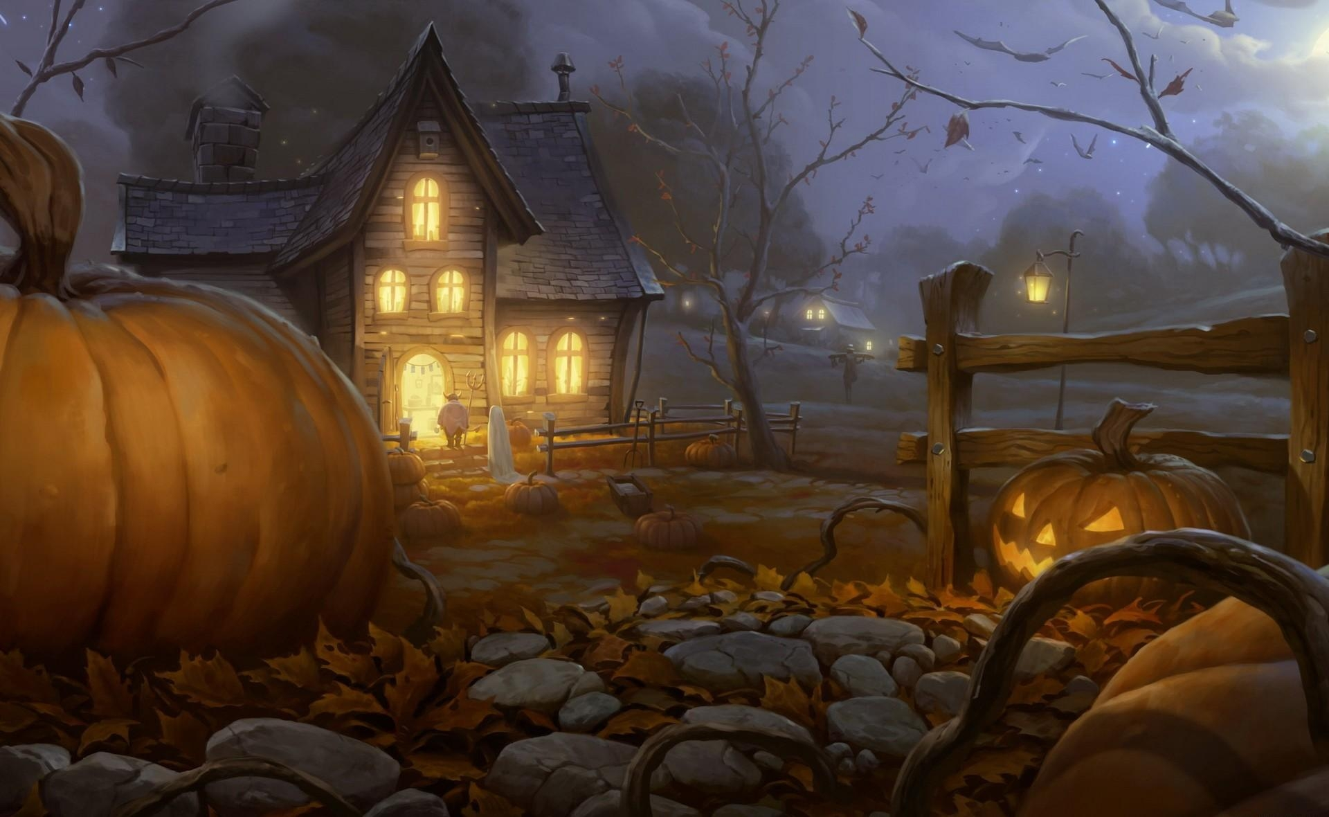 106810 download wallpaper Pumpkin, Halloween, Holidays, Night, Shine, Light, Holiday, House, Jack's Lantern screensavers and pictures for free