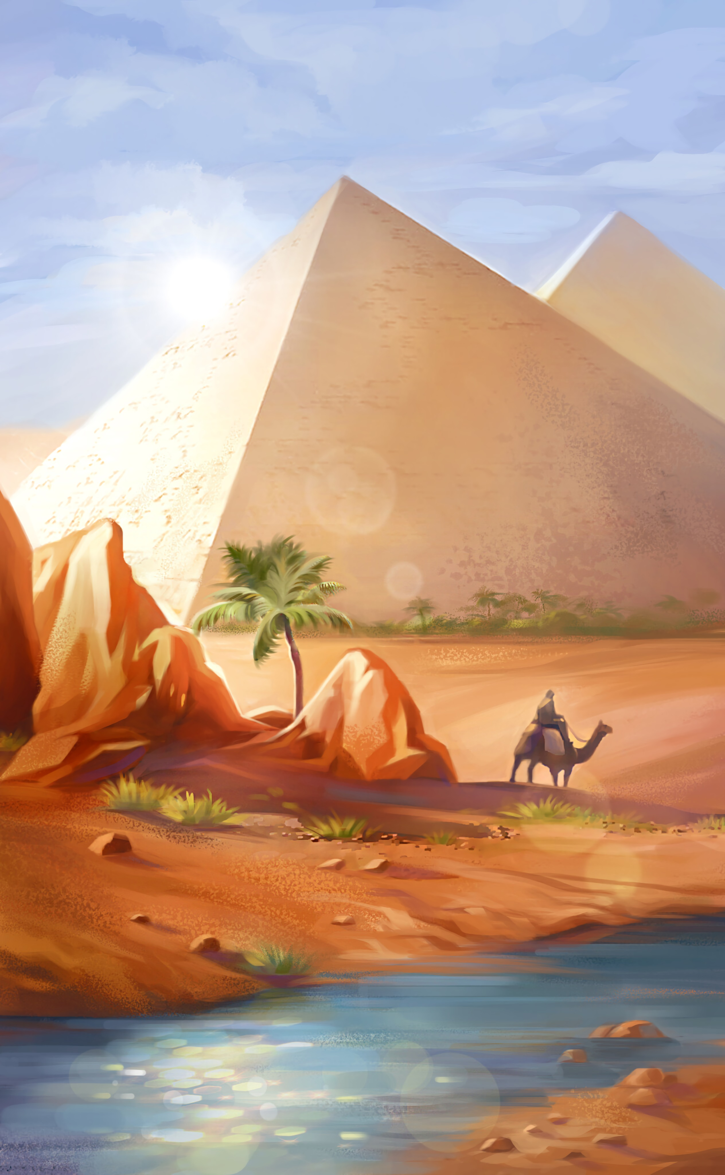 97502 Заставки и Обои Пустыня на телефон. Скачать Арт, Пустыня, Пирамиды, Верблюд картинки бесплатно