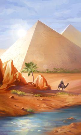 97502 Заставки и Обои Пустыня на телефон. Скачать Верблюд, Арт, Пустыня, Пирамиды картинки бесплатно