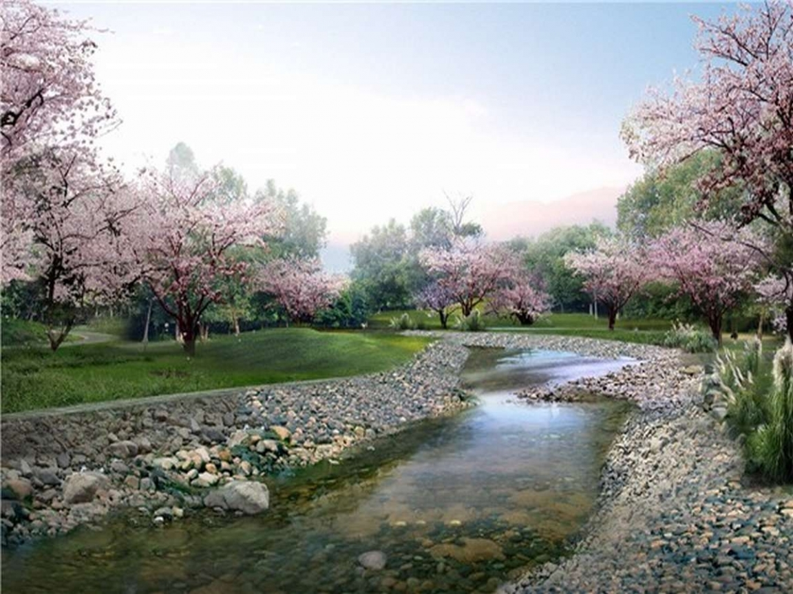 326 download wallpaper Landscape, Rivers, Trees, Pebble screensavers and pictures for free