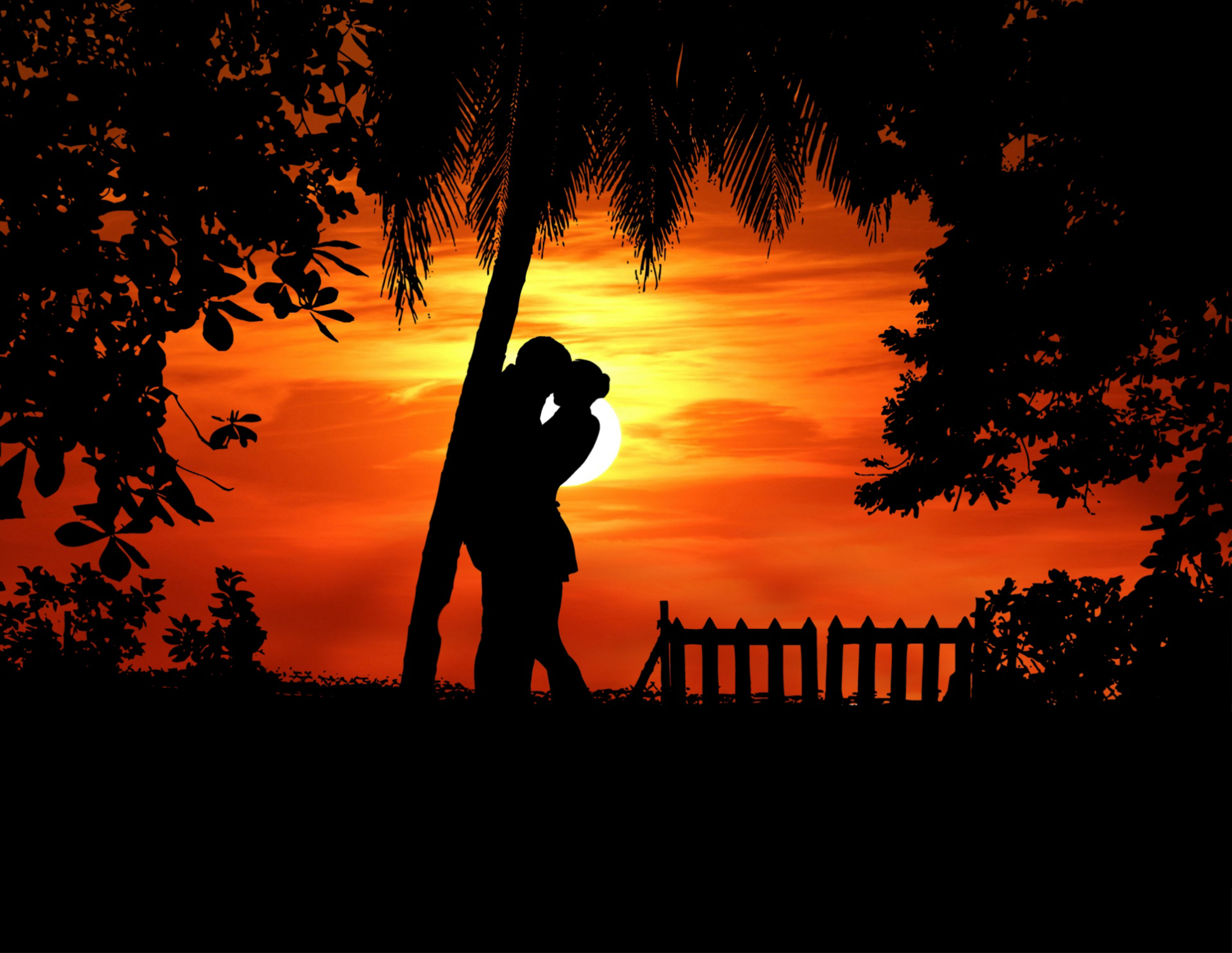 133103 télécharger le fond d'écran Coupler, Paire, Silhouettes, Embrasser, Romance, Amour, Tropiques - économiseurs d'écran et images gratuitement