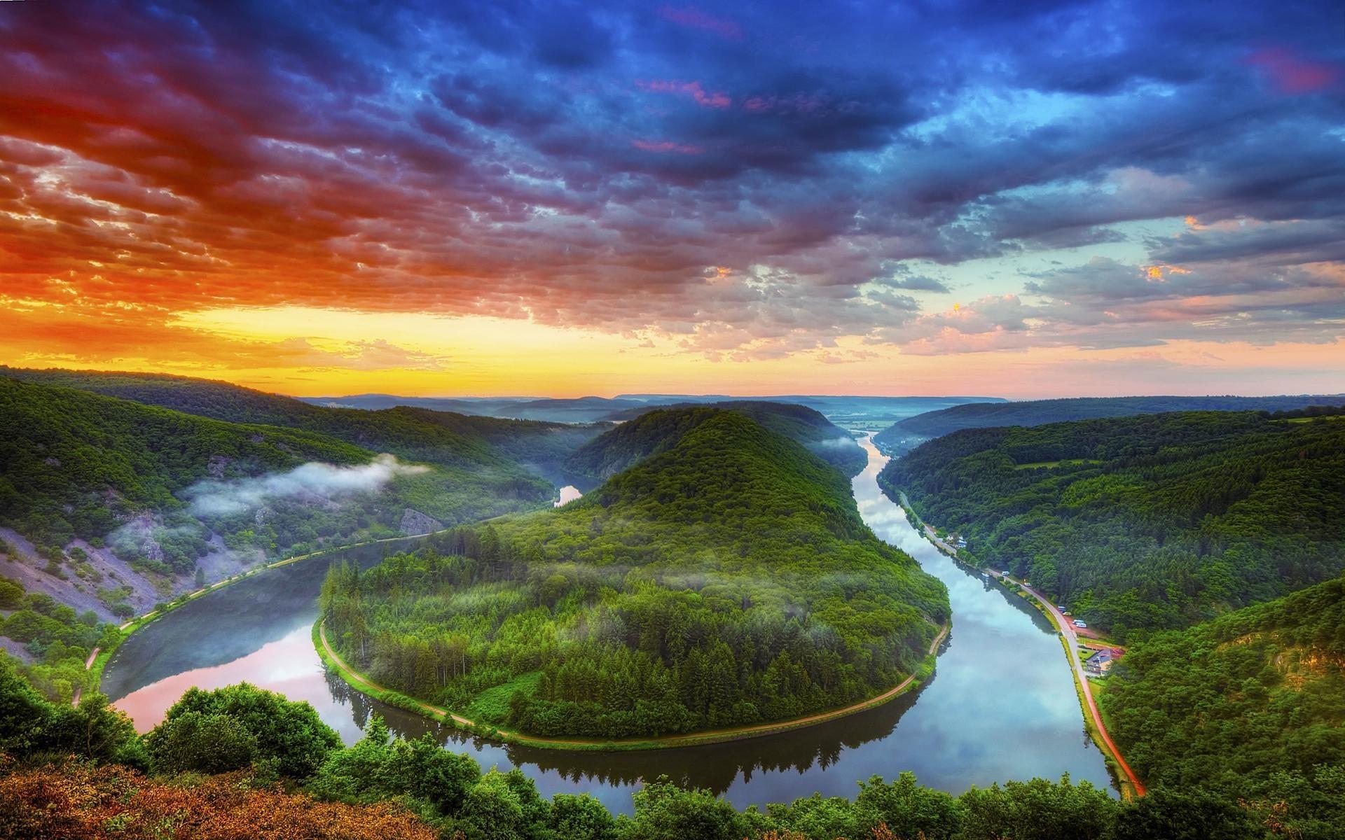 12548 скачать обои Пейзаж, Река, Небо, Арт - заставки и картинки бесплатно