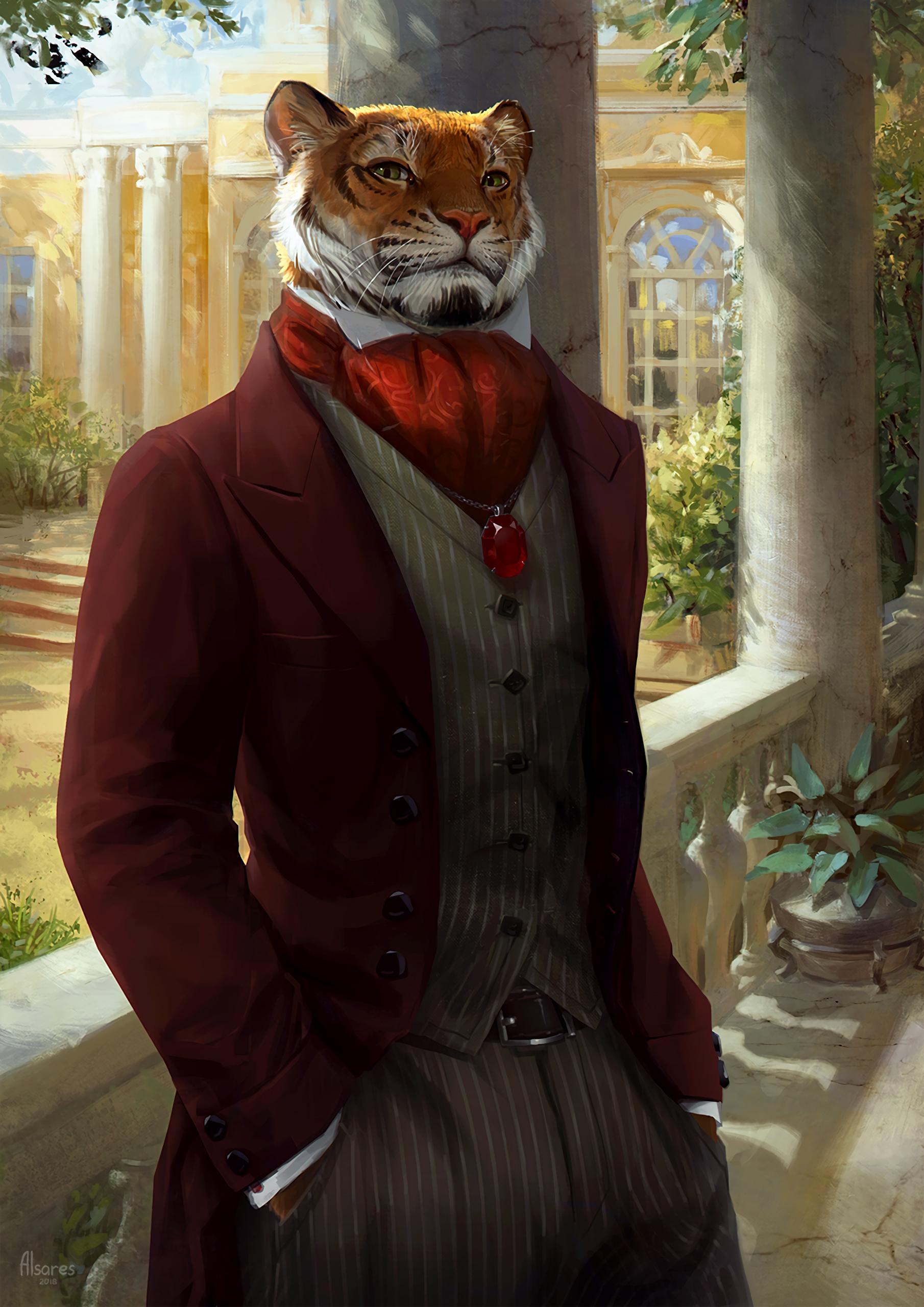 147665 Hintergrundbild herunterladen Kunst, Tiger, Tier, Kostüm, Aristokrat - Bildschirmschoner und Bilder kostenlos