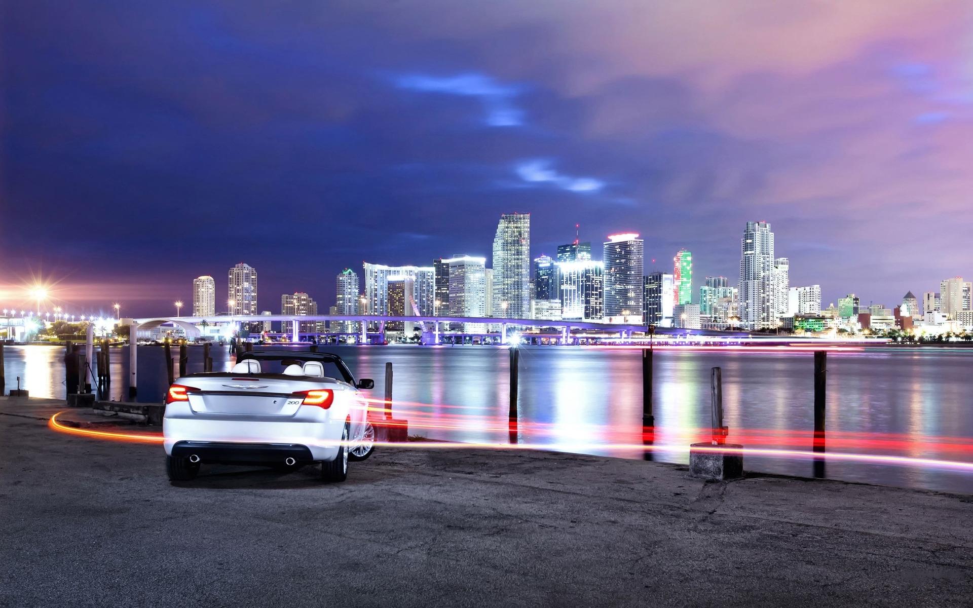 26156 скачать обои Транспорт, Пейзаж, Города, Машины, Ночь - заставки и картинки бесплатно