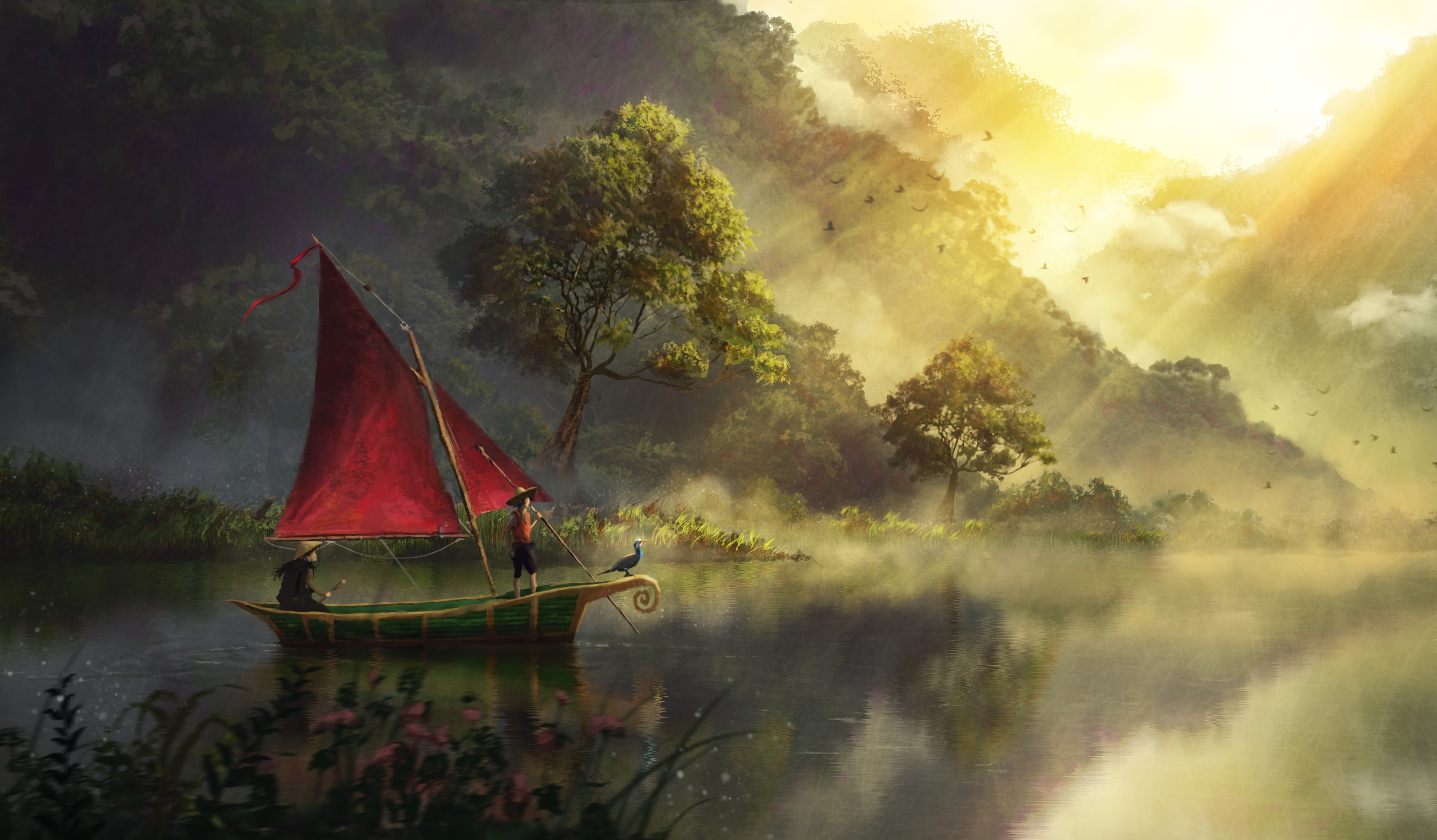 83648 Screensavers and Wallpapers Boat for phone. Download Rivers, Art, Dawn, Fog, Boat pictures for free