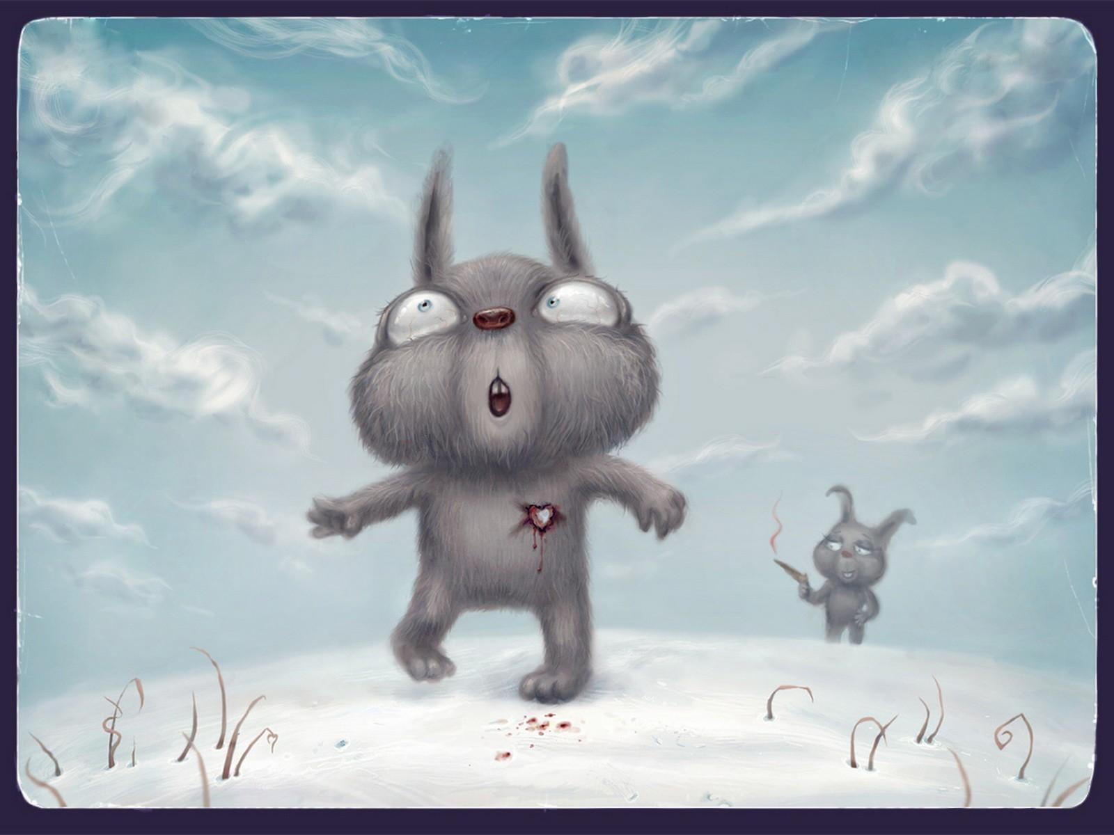 10501 скачать обои Кролики, Любовь, Рисунки - заставки и картинки бесплатно