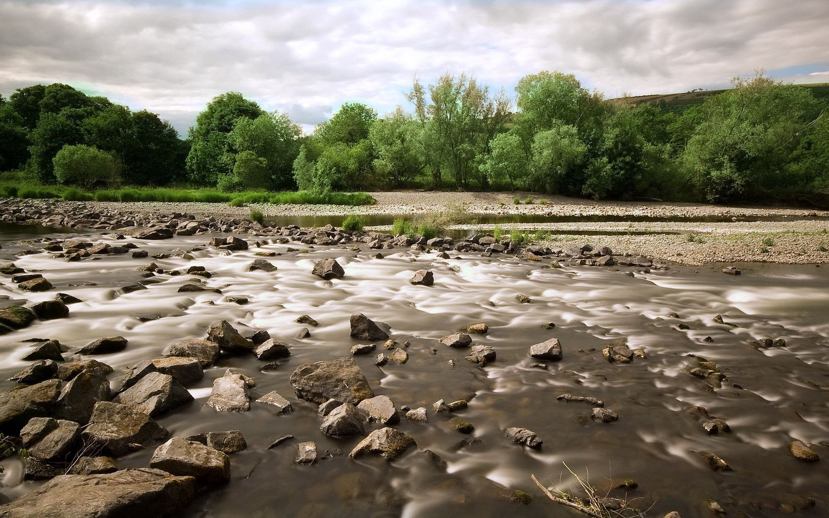 84819 download wallpaper Nature, Stones, Mountain River, Trees screensavers and pictures for free