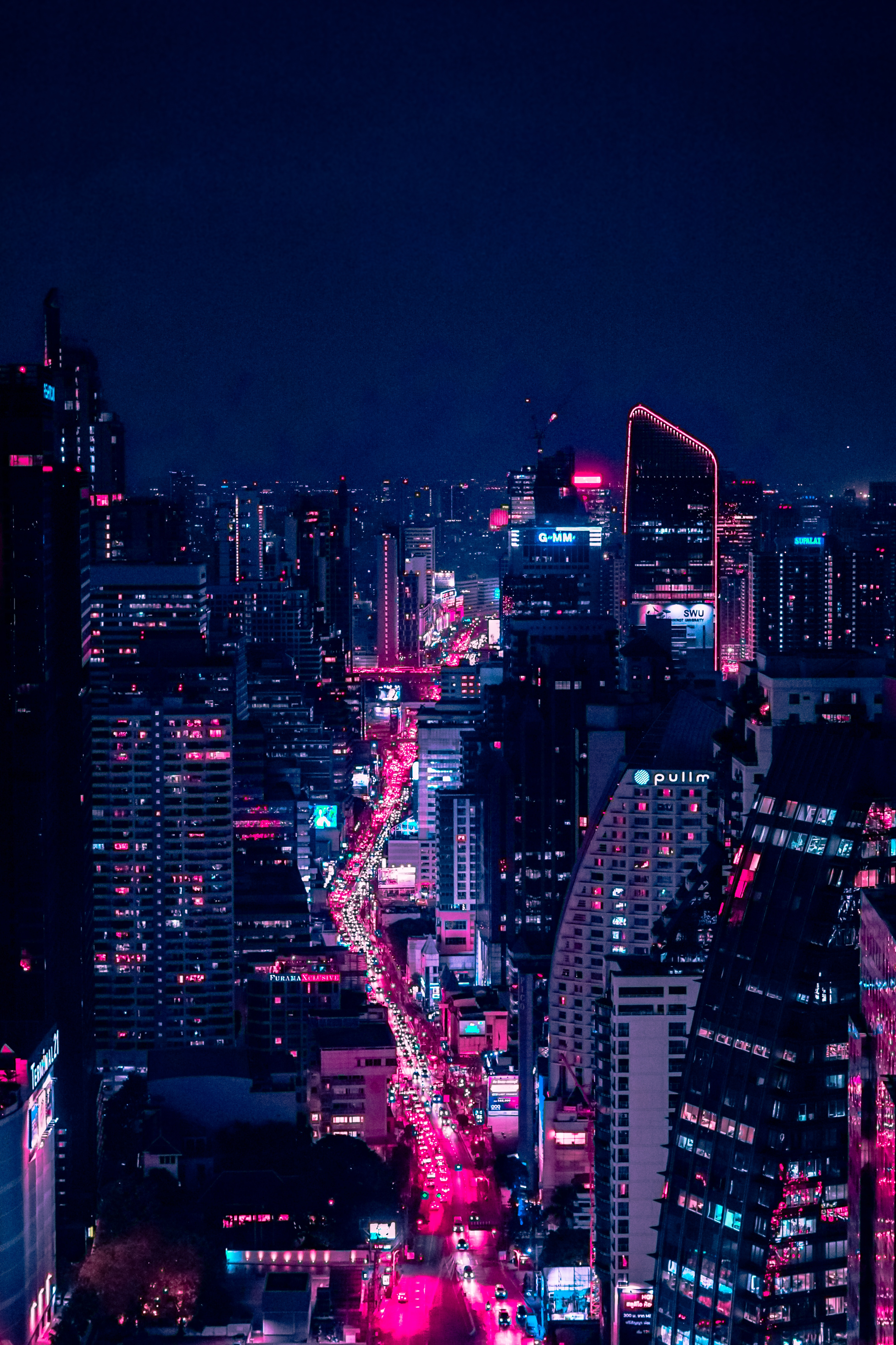 136320 download wallpaper Architecture, Cities, Night, Building, View From Above, Night City, City Lights screensavers and pictures for free