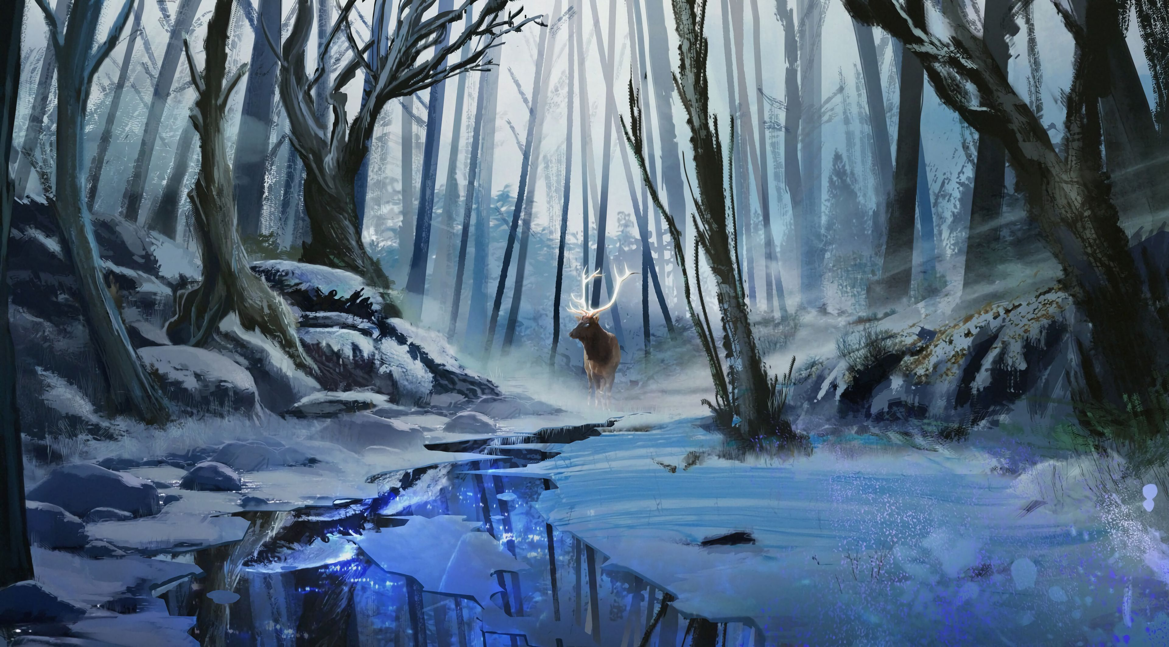 82359 download wallpaper Deer, Art, Forest, Rivers, Winter screensavers and pictures for free