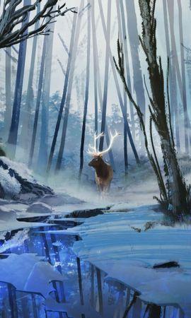 82359 baixar papel de parede Cervo, Veado, Arte, Floresta, Rios, Inverno - protetores de tela e imagens gratuitamente