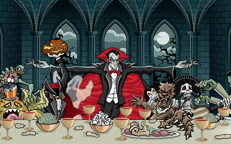 65422 download wallpaper Dracula, Vampire, Art, Feast, Halloween, Pumpkin screensavers and pictures for free