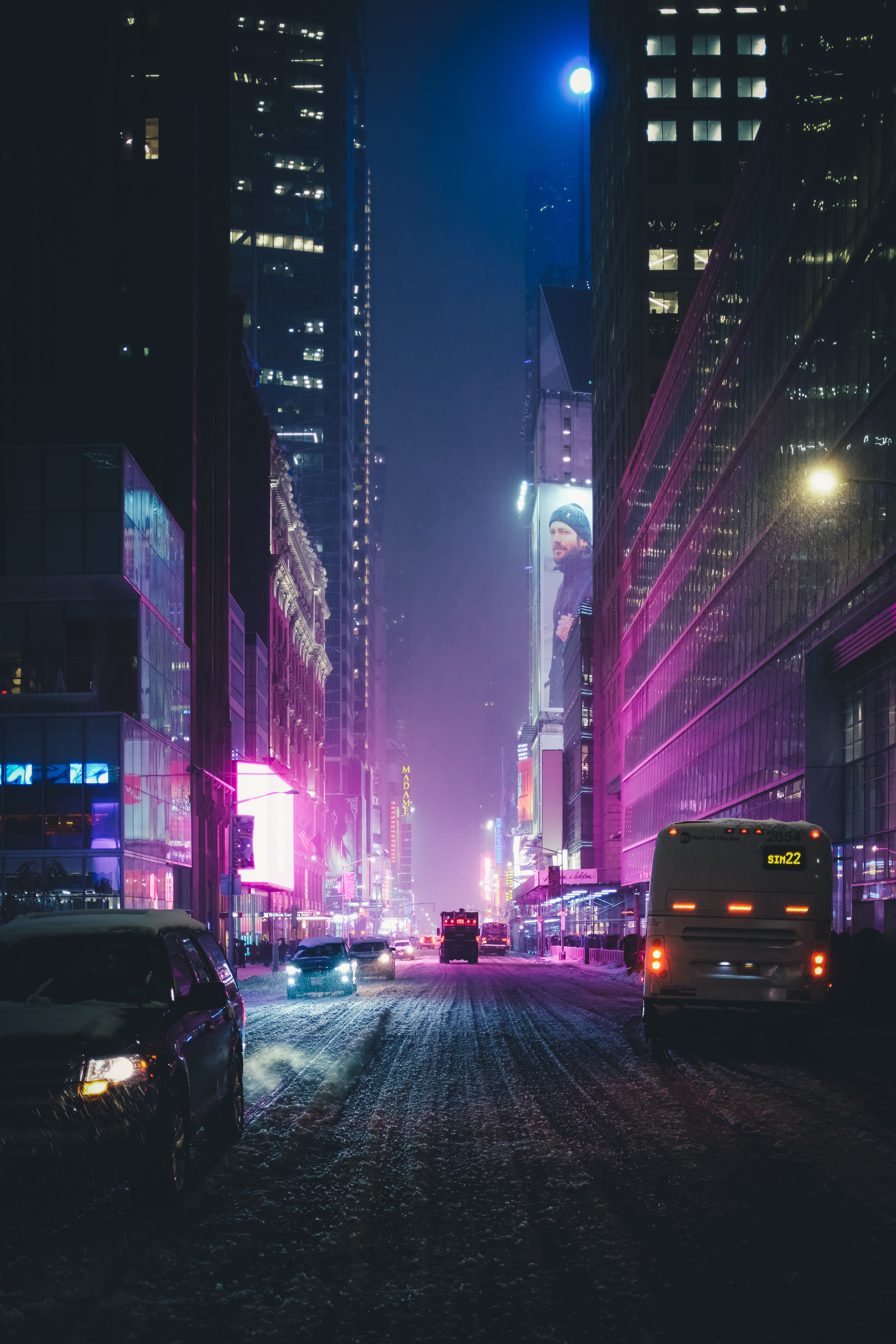 118320 download wallpaper Night City, Street, Skyscrapers, City Lights, Traffic, Movement, New York, Usa, United States, Cities screensavers and pictures for free
