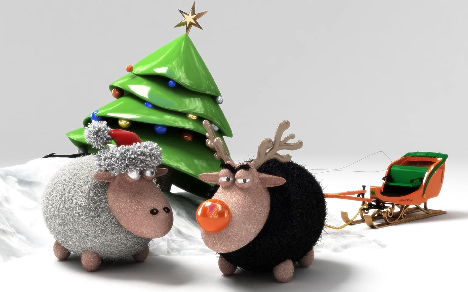 58945 Screensavers and Wallpapers Sheep for phone. Download Holidays, New Year, Holiday, Christmas Tree, Sheep, Sleigh, Sledge, Sheeps, Meeting pictures for free