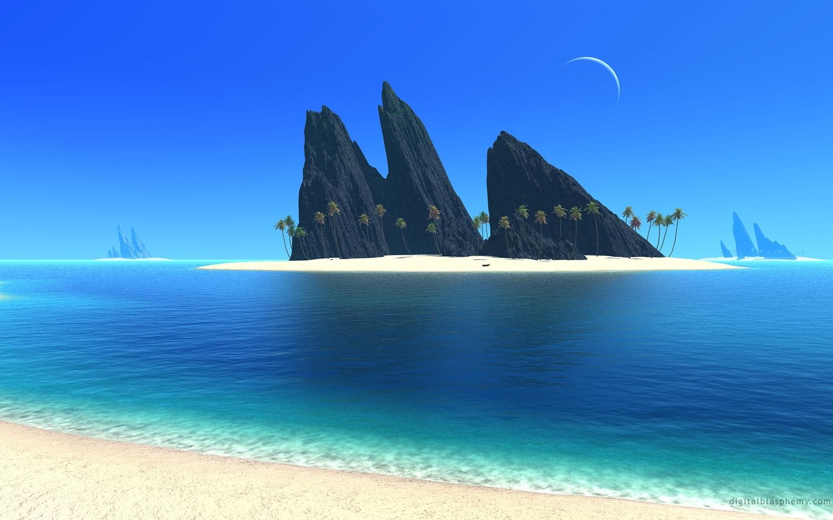 25592 скачать обои Пейзаж, Фэнтези, Море, Пляж - заставки и картинки бесплатно