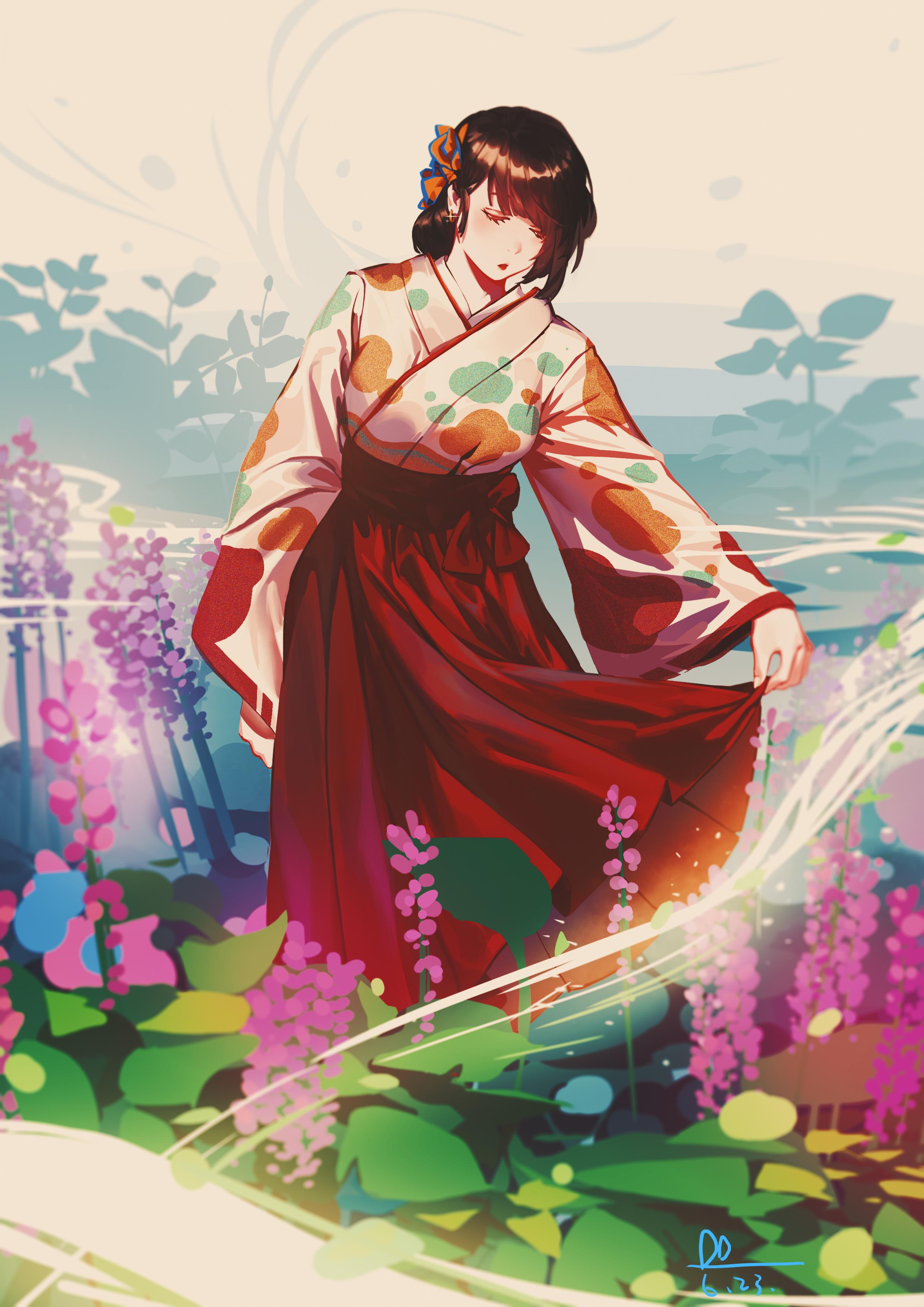 70191 скачать обои Девушка, Взгляд, Кимоно, Аниме, Арт, Япония - заставки и картинки бесплатно