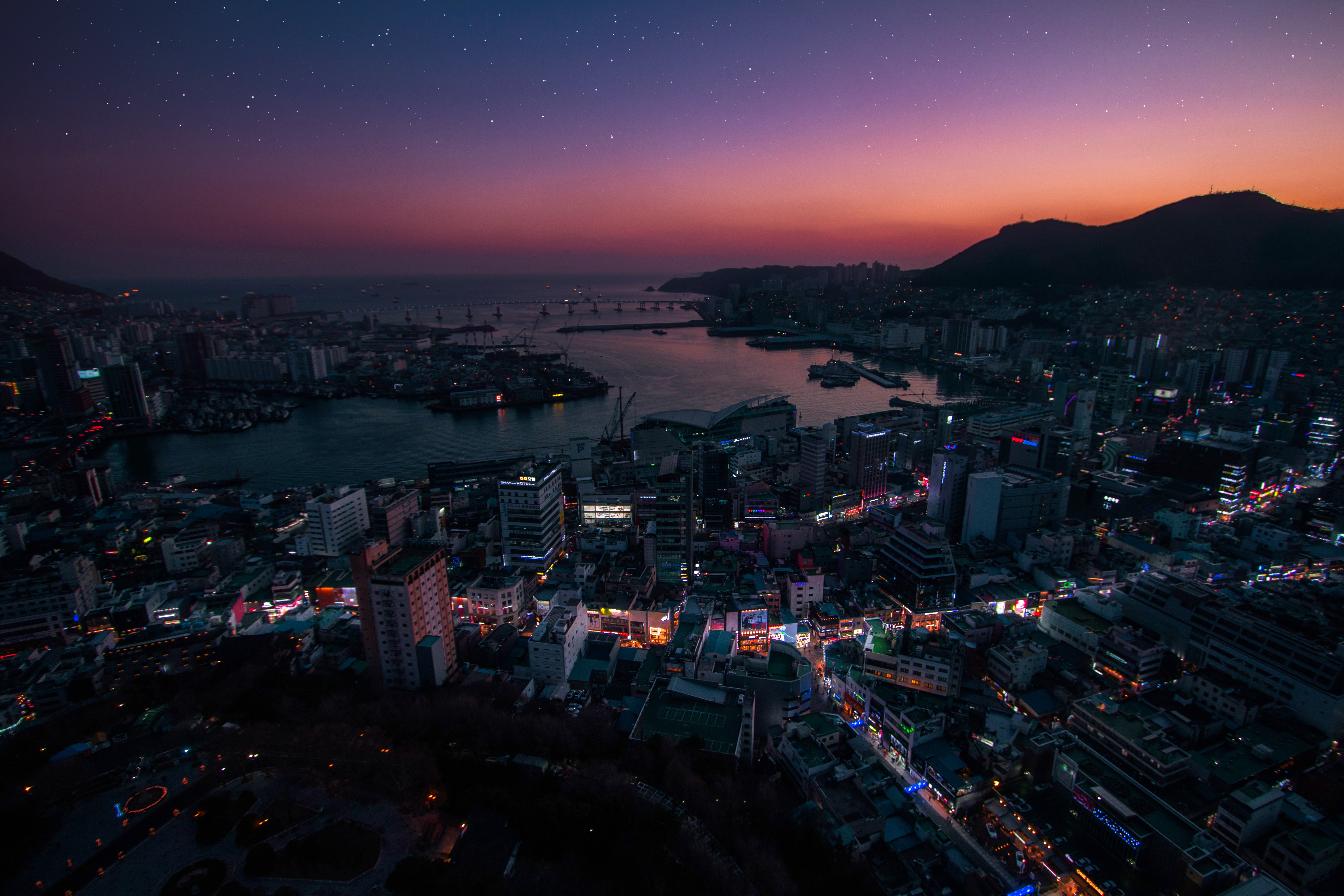 136745 Screensavers and Wallpapers Cities for phone. Download Cities, View From Above, Night City, City Lights, South Korea pictures for free