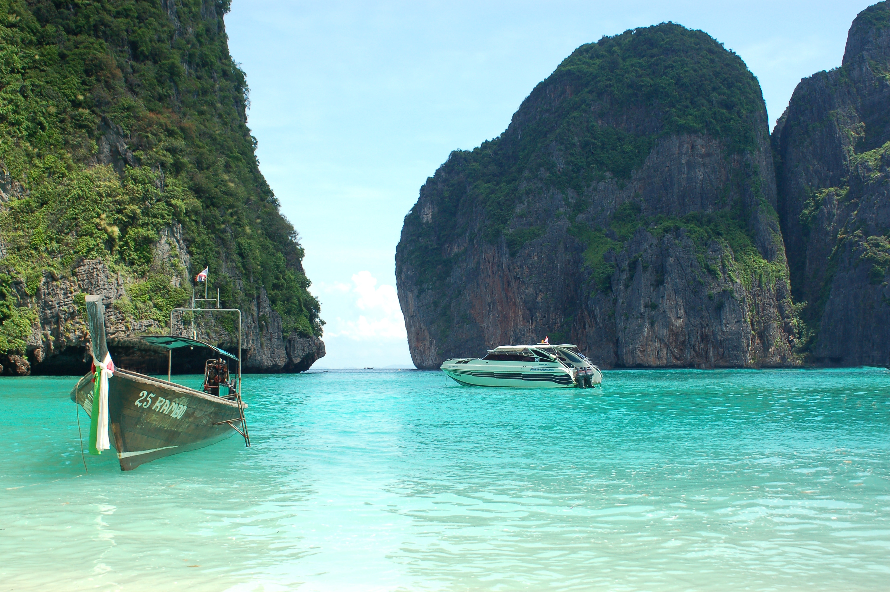 53022 Screensavers and Wallpapers Rocks for phone. Download Nature, Sea, Boats, Rocks, Tropics, Thailand pictures for free