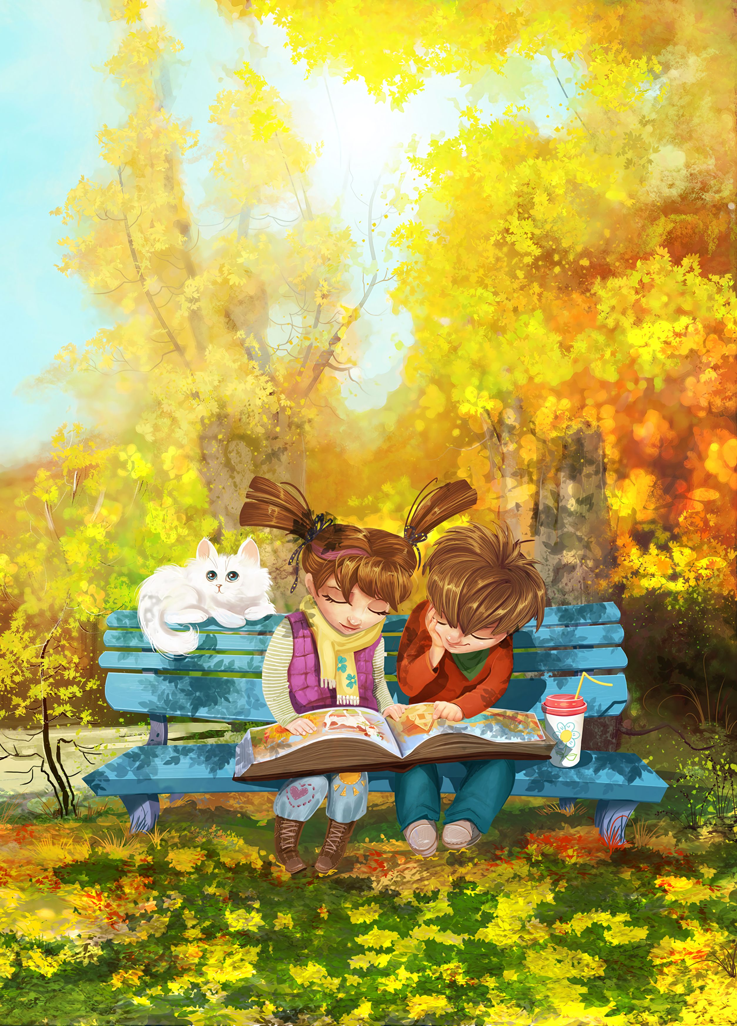 97695 Screensavers and Wallpapers Bench for phone. Download Art, Cat, Park, Girl, Nice, Bench, Boy, Nicely pictures for free