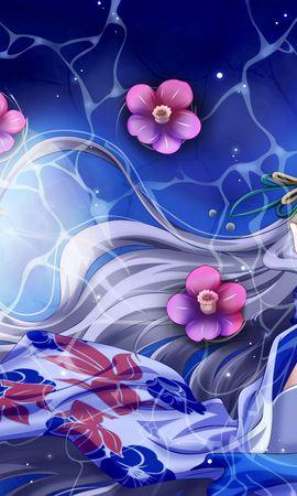 155214 скачать обои Аниме, Девушка, Кимоно, Ветер, Волосы - заставки и картинки бесплатно