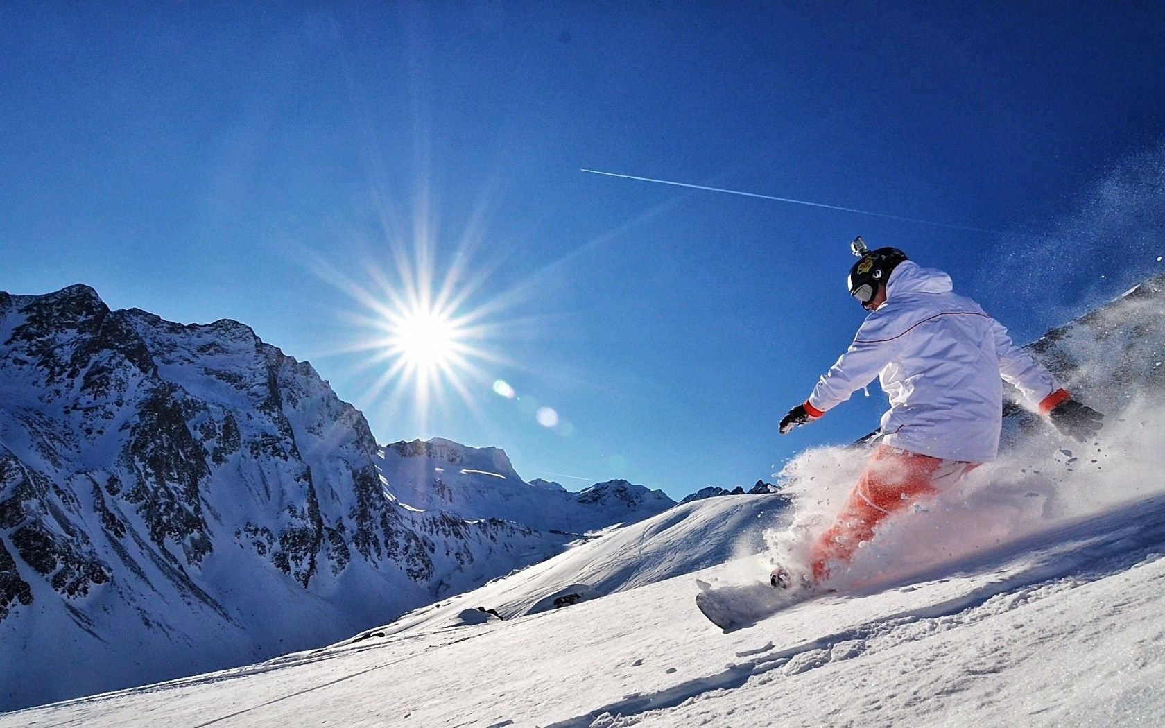 139829 download wallpaper Sports, Snowboard, Snow, Adrenalin, Adrenaline, Mountains, Sun screensavers and pictures for free