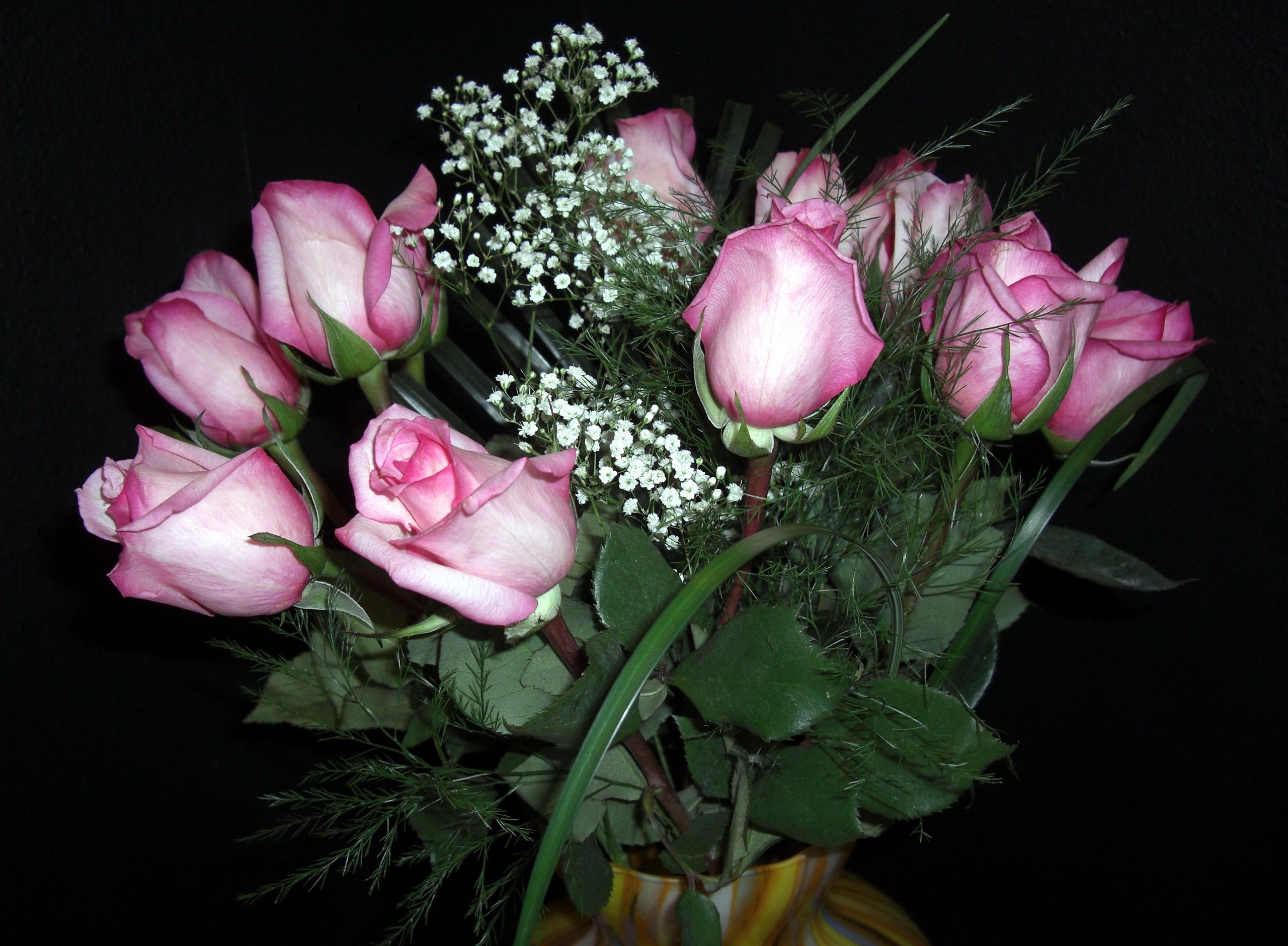 79008 скачать обои Цветы, Гипсофил, Букет, Ваза, Розы - заставки и картинки бесплатно