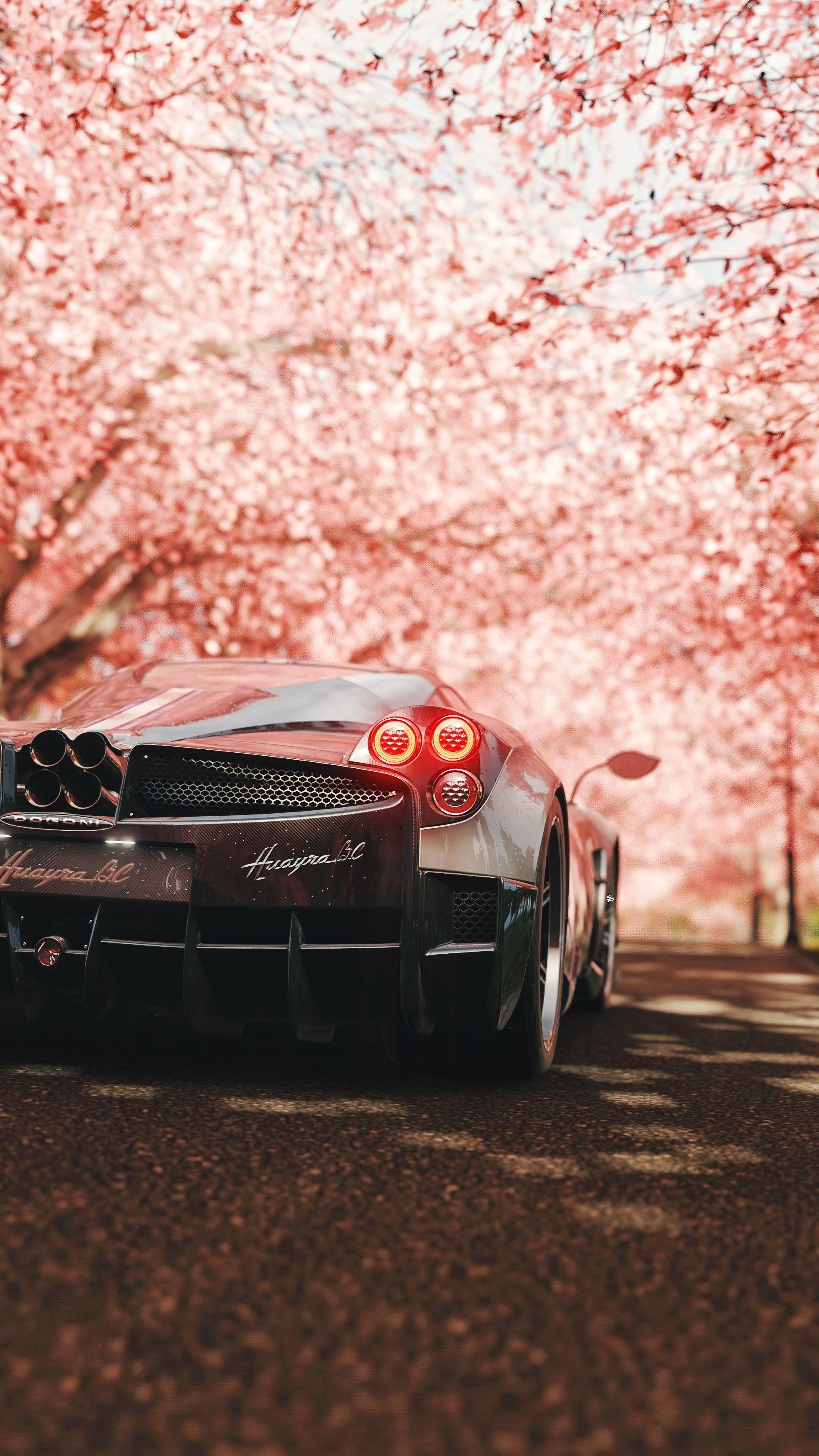 124723 Screensavers and Wallpapers Sakura for phone. Download Sports, Sakura, Pagani, Cars, Sports Car, Back View, Rear View, Supercar, Pagani Huayra pictures for free