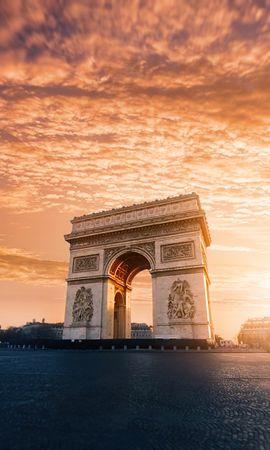 135817 baixar papel de parede Arco Do Triunfo, Nuvens, Paris, França, Arquitetura, Cidades - protetores de tela e imagens gratuitamente