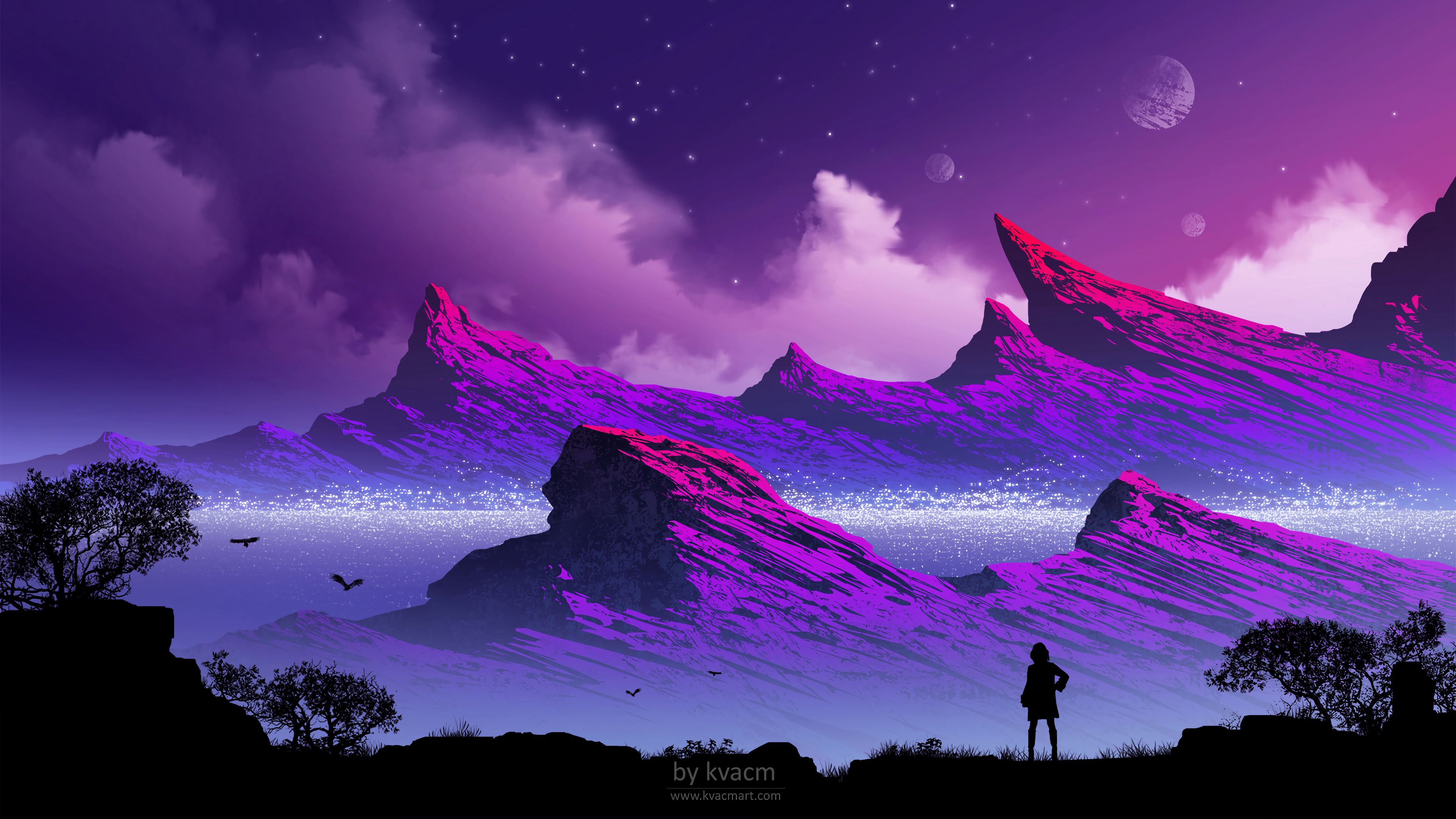 147680 download wallpaper Silhouette, Gore, Mountains, Clouds, Art, Fog, Loneliness, Alone, Lonely screensavers and pictures for free