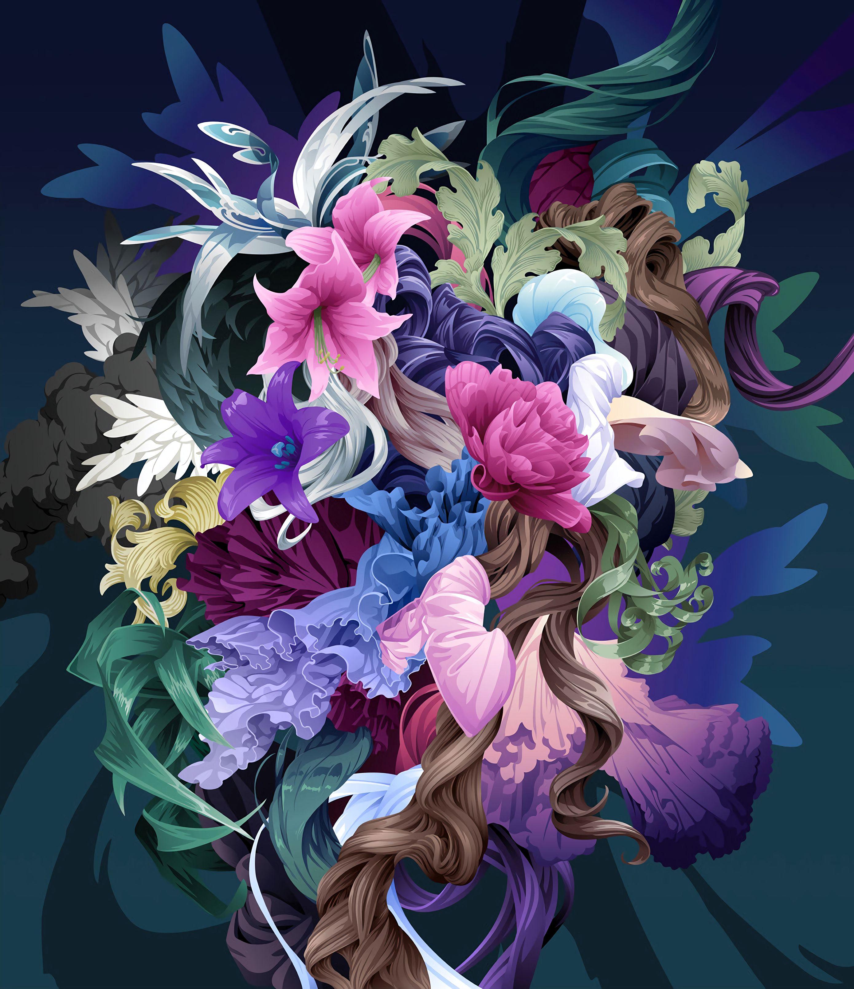 52778 скачать обои Арт, Красочный, Цветы, Узоры - заставки и картинки бесплатно