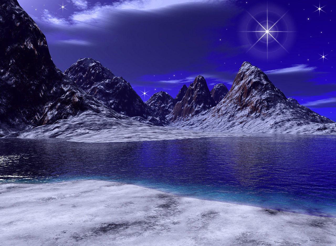 22585 скачать обои Пейзаж, Горы, Море, Звезды, Ночь - заставки и картинки бесплатно