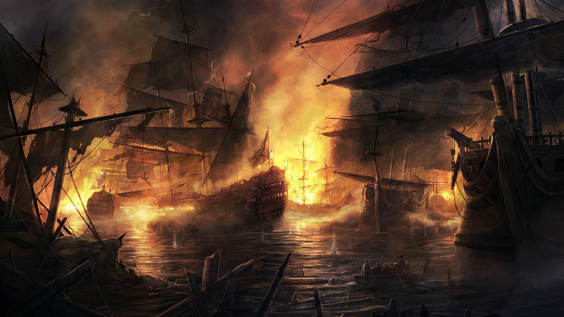 59 скачать обои Вода, Фэнтези, Арт, Корабли, Море, Огонь - заставки и картинки бесплатно