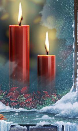 23911 скачать обои Праздники, Новый Год (New Year), Рождество (Christmas, Xmas), Свечи, Рисунки - заставки и картинки бесплатно
