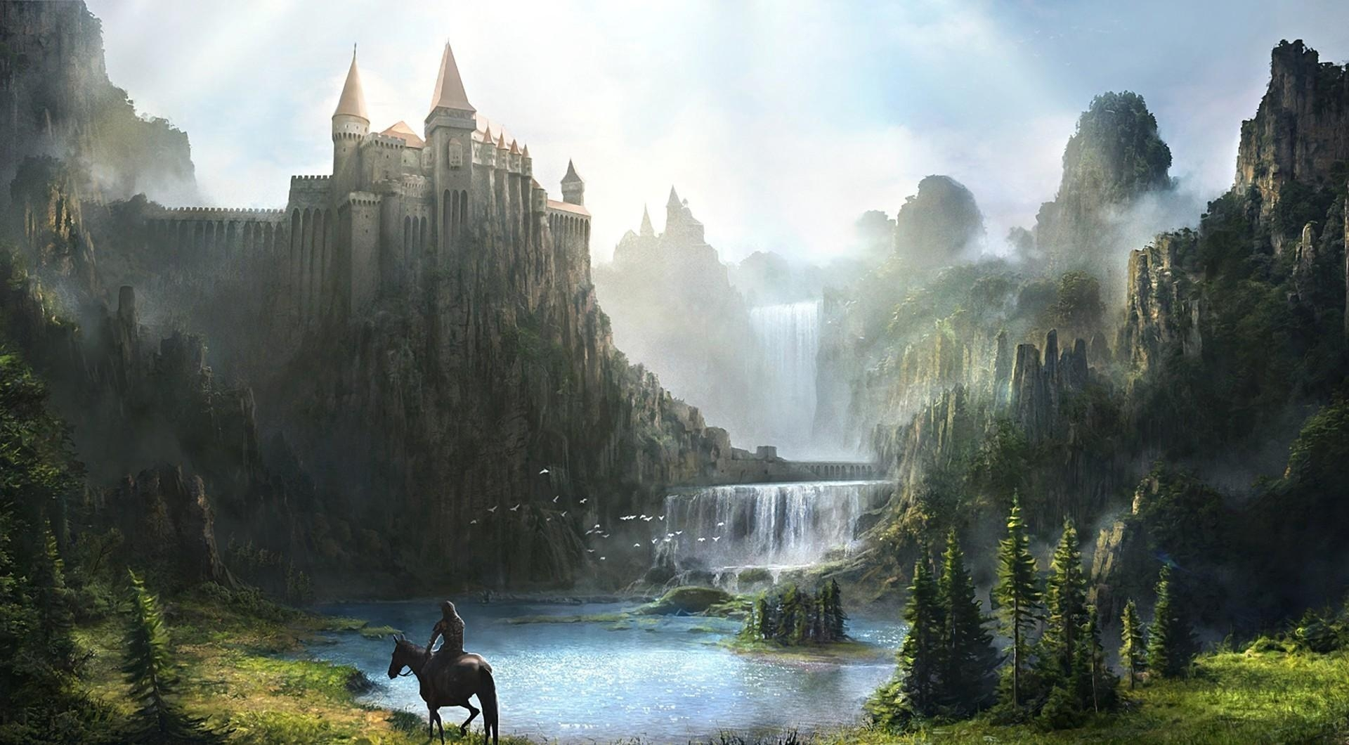 103597 download wallpaper Fantasy, Mountains, Lock, Waterfall, Greens, Rider, Horseman screensavers and pictures for free