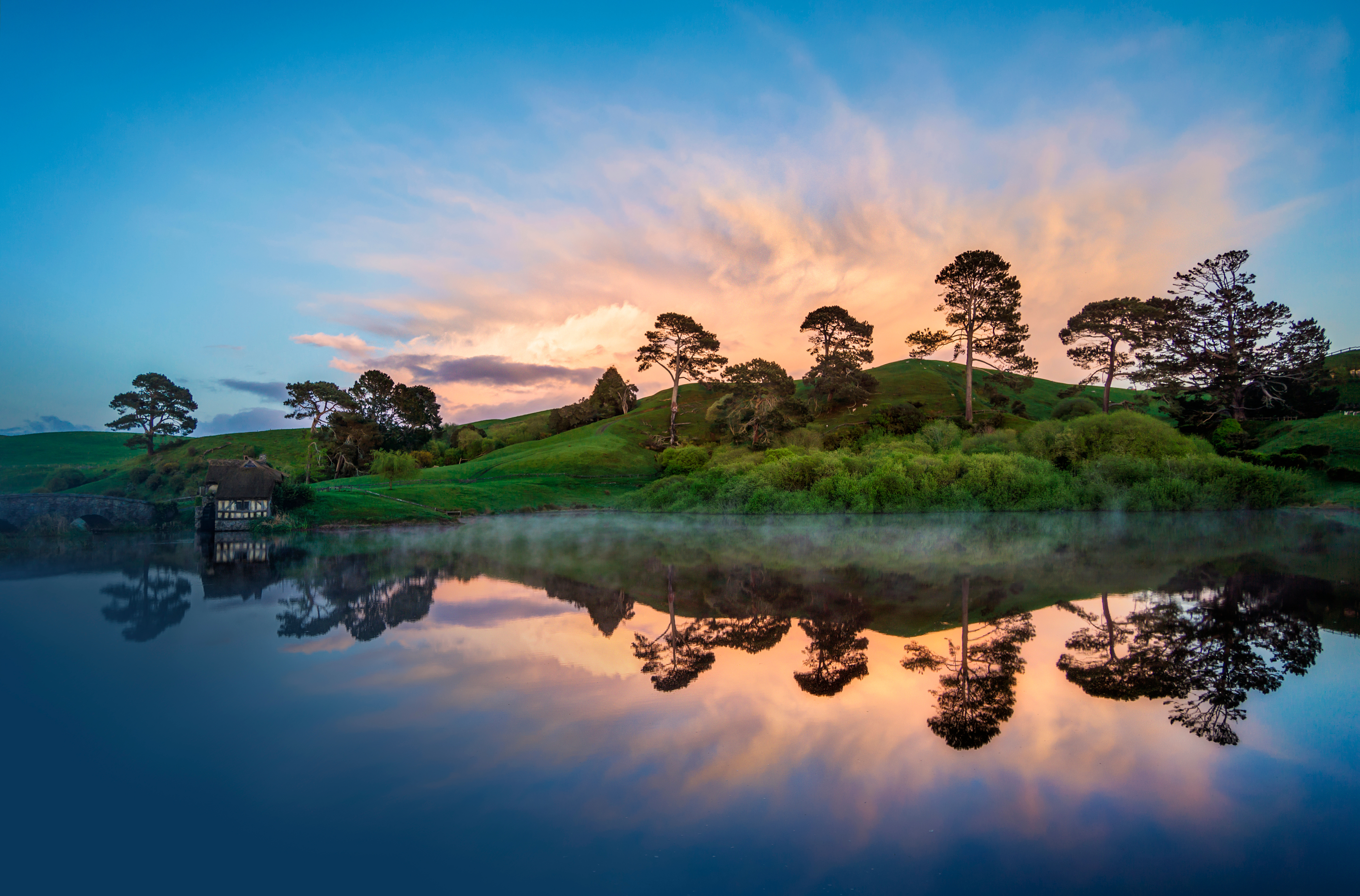 156115 download wallpaper Nature, Lake, Trees, Sunset, Hill screensavers and pictures for free