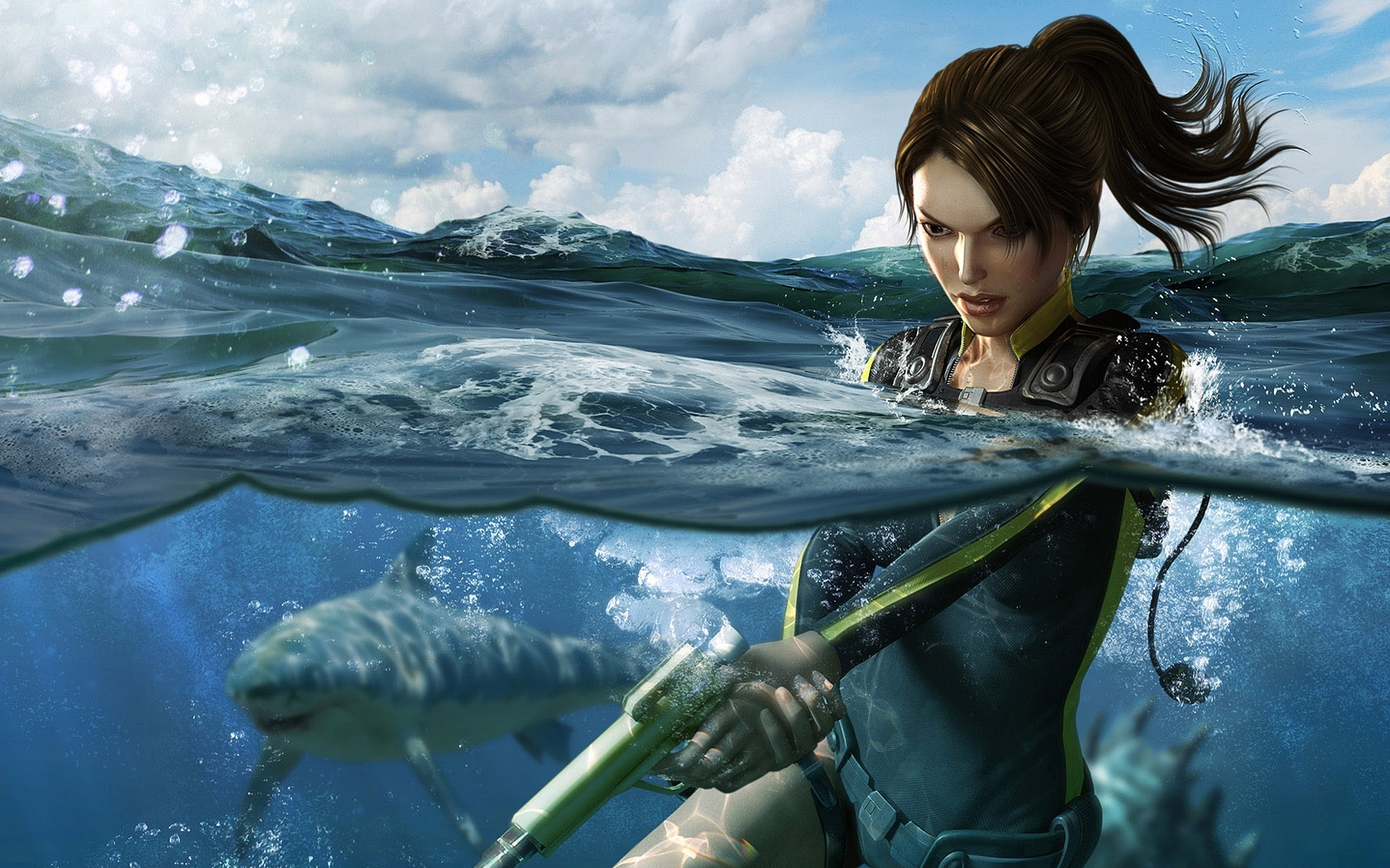 5561 baixar papel de parede Jogos, Água, Lara Croft: Tomb Raider - protetores de tela e imagens gratuitamente
