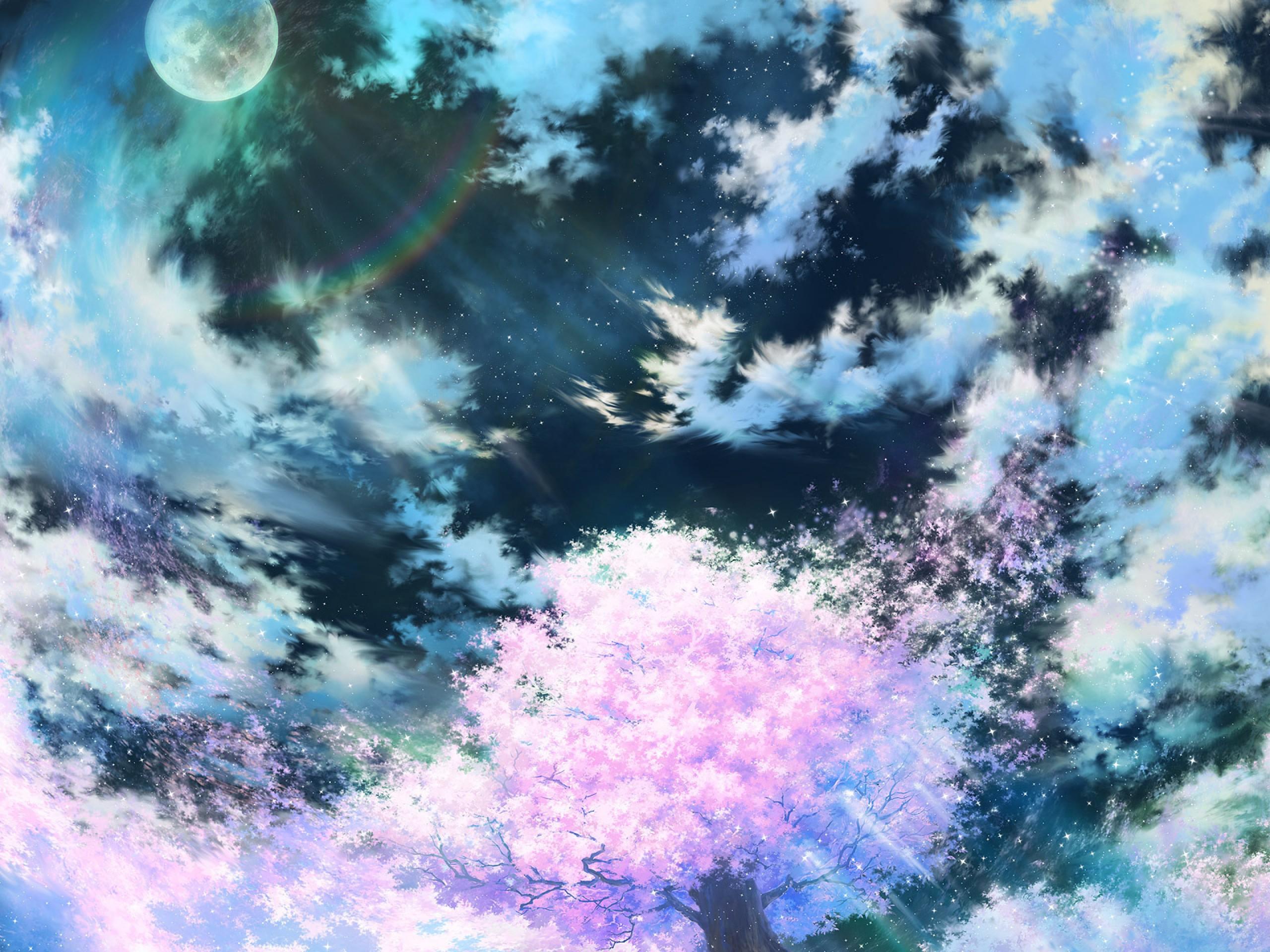84612 Screensavers and Wallpapers Sakura for phone. Download Anime, Sakura, Sky, Art, Pink pictures for free