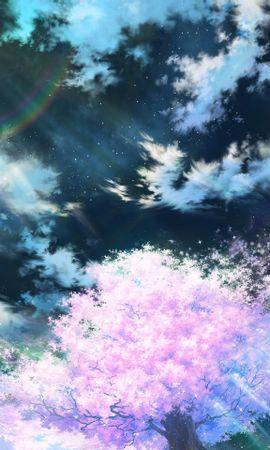 84612 скачать обои Сакура, Арт, Небо, Аниме, Розовый - заставки и картинки бесплатно