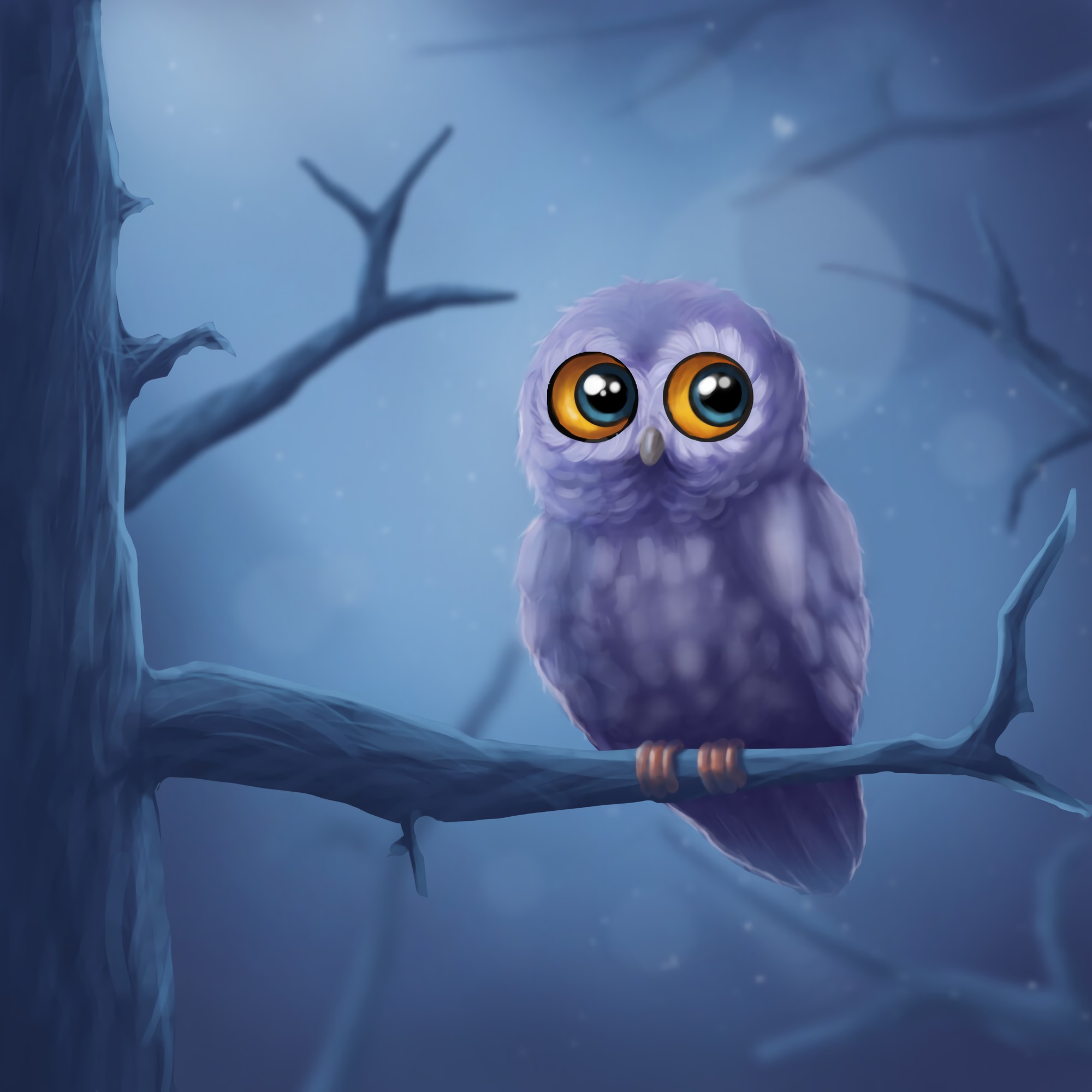 141377 Screensavers and Wallpapers Owl for phone. Download Owl, Bird, Branch, Wood, Tree, Art pictures for free
