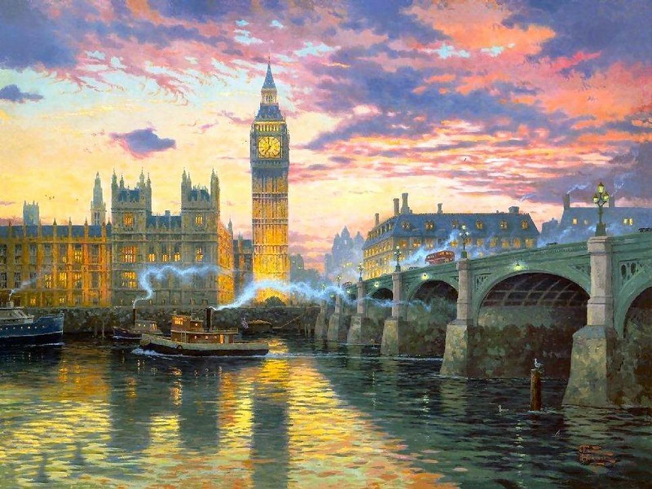 14682 скачать обои Пейзаж, Города, Река, Архитектура, Картины, Лондон - заставки и картинки бесплатно