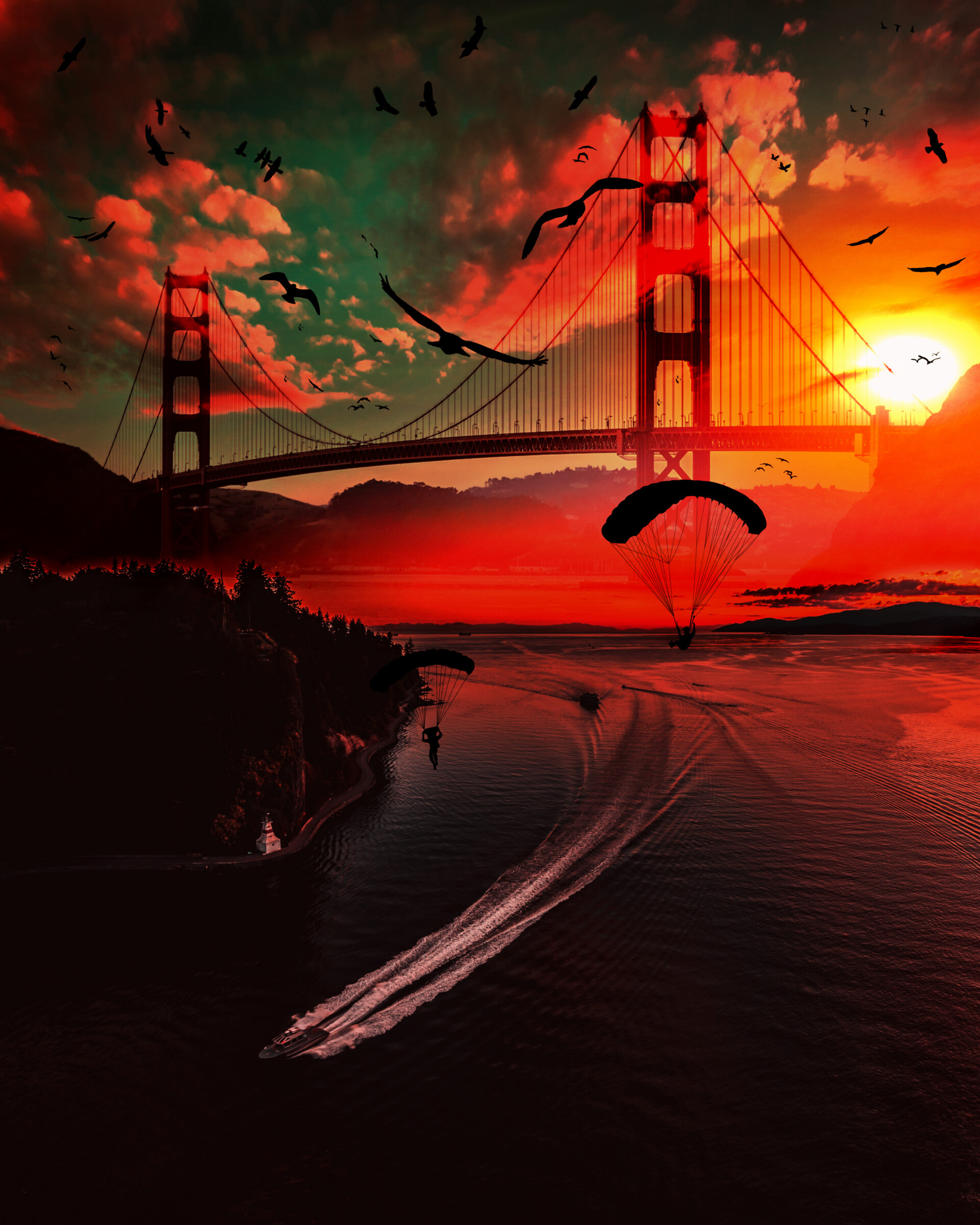 153292 Hintergrundbild herunterladen Vögel, Flüsse, Sunset, Boote, Dunkel, Brücke, Fallschirmspringer, Fallschirmjäger - Bildschirmschoner und Bilder kostenlos