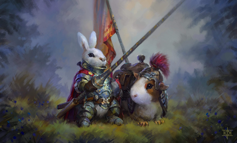 71442 Hintergrundbild herunterladen Kunst, Kaninchen, Meerschweinchen, Ritter - Bildschirmschoner und Bilder kostenlos