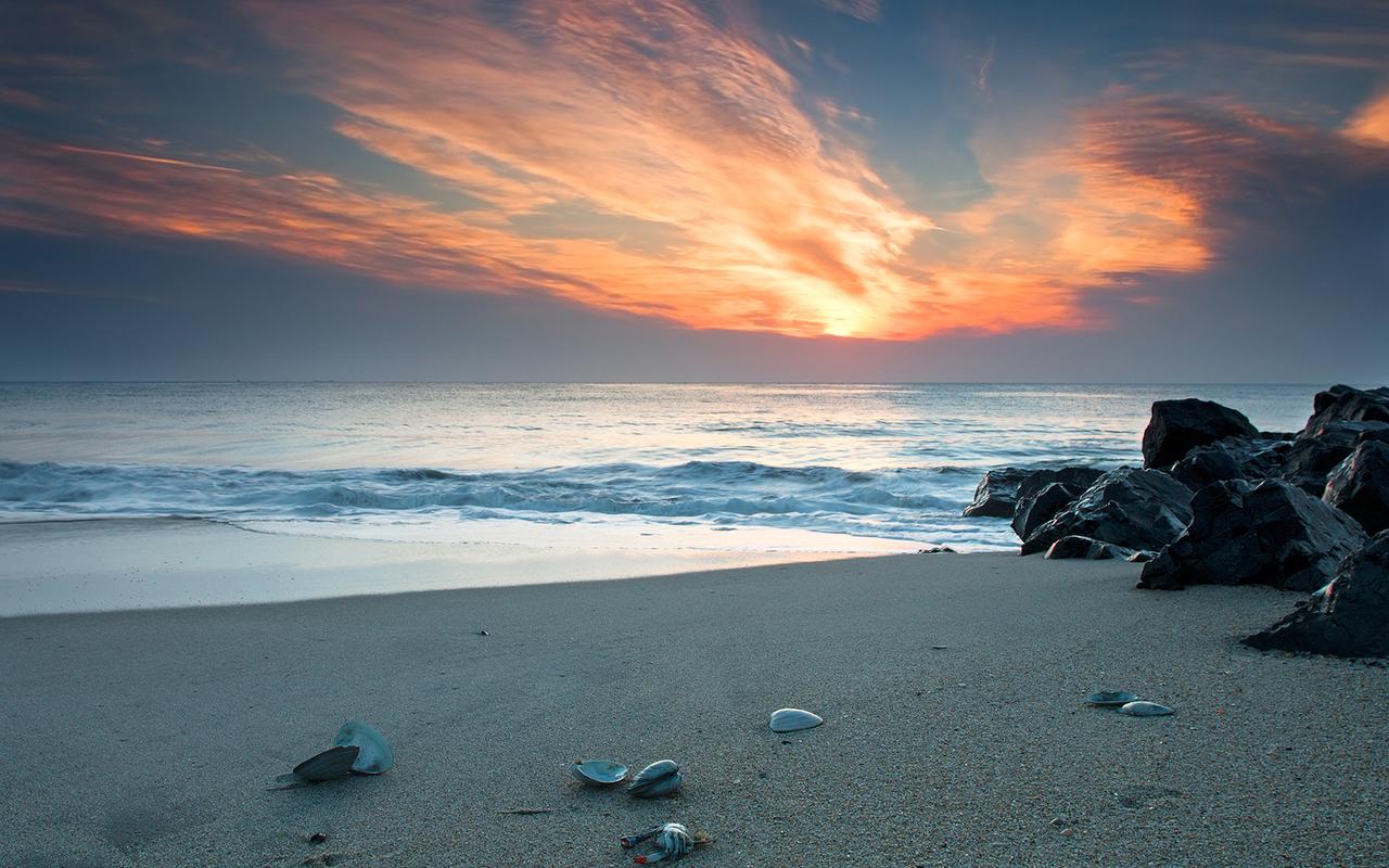 14686 скачать обои Пейзаж, Закат, Море, Пляж - заставки и картинки бесплатно