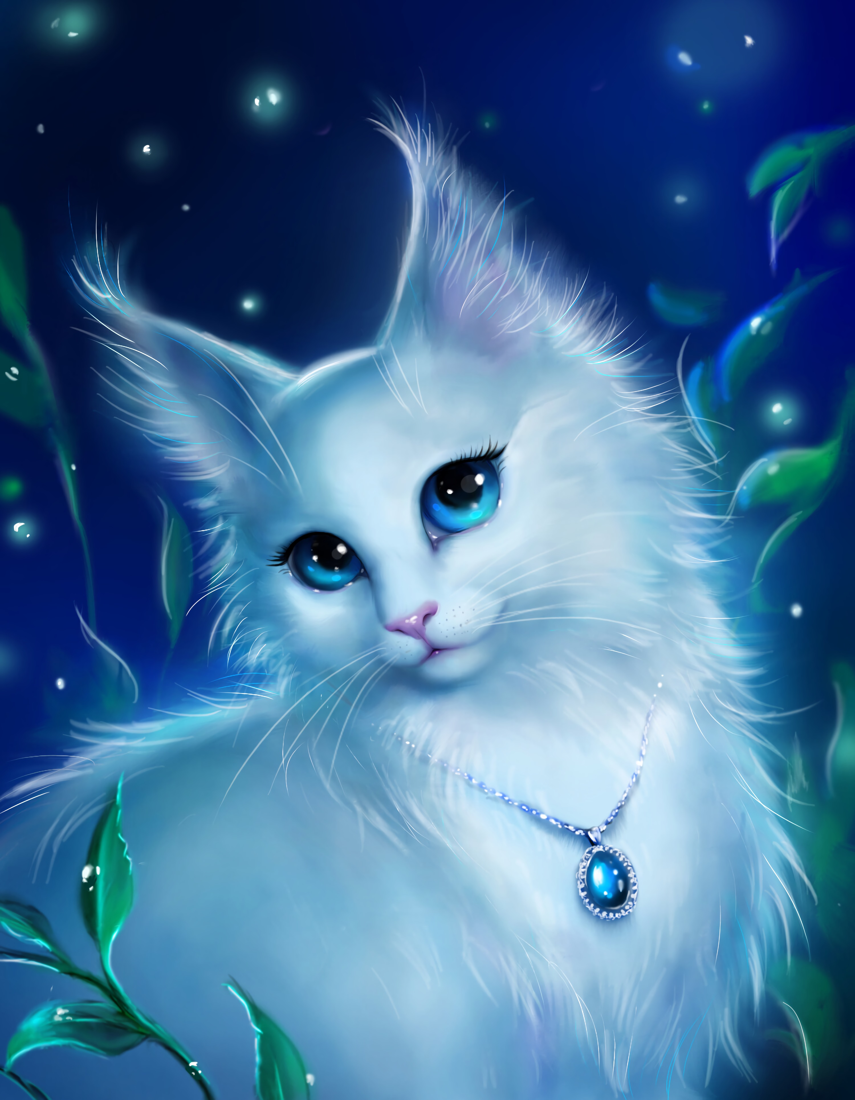 125224 download wallpaper Cat, Sight, Opinion, Pendant, Coulomb, Nice, Sweetheart, Art screensavers and pictures for free