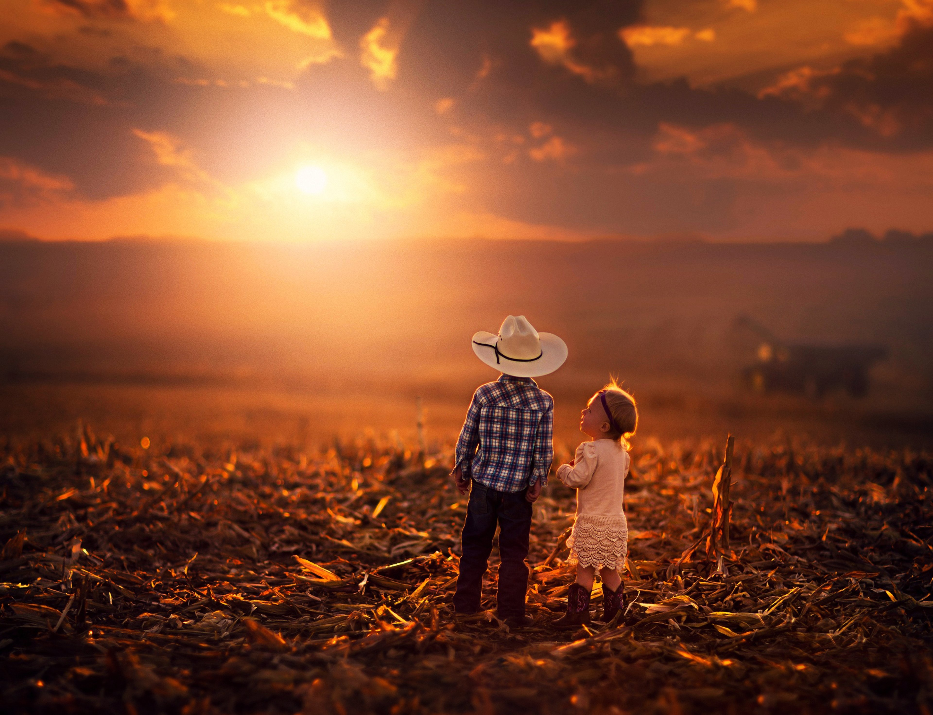 61885 download wallpaper Children, Sunset, Grass, Sky, Miscellanea, Miscellaneous screensavers and pictures for free