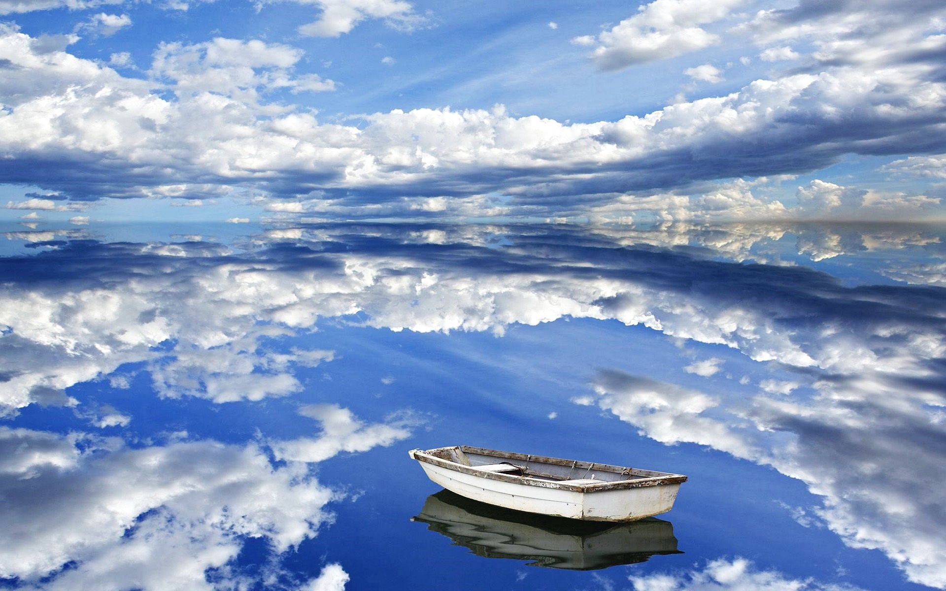 145201 Screensavers and Wallpapers Boat for phone. Download Nature, Sky, Clouds, Reflection, Boat, Reflections pictures for free