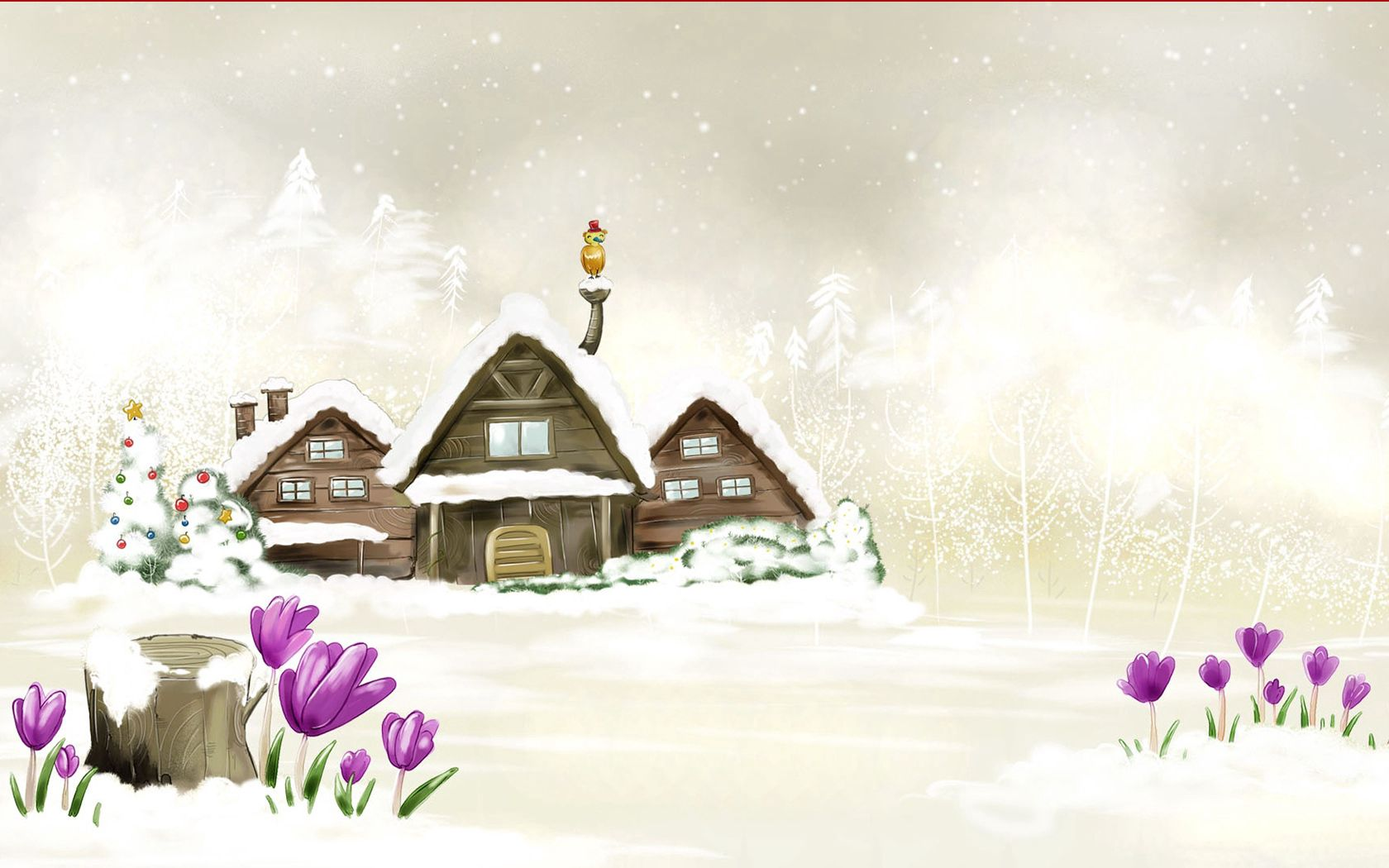 91934 Screensavers and Wallpapers Small House for phone. Download Winter, Flowers, Snow, Miscellanea, Miscellaneous, Picture, Drawing, Small House, Lodge pictures for free